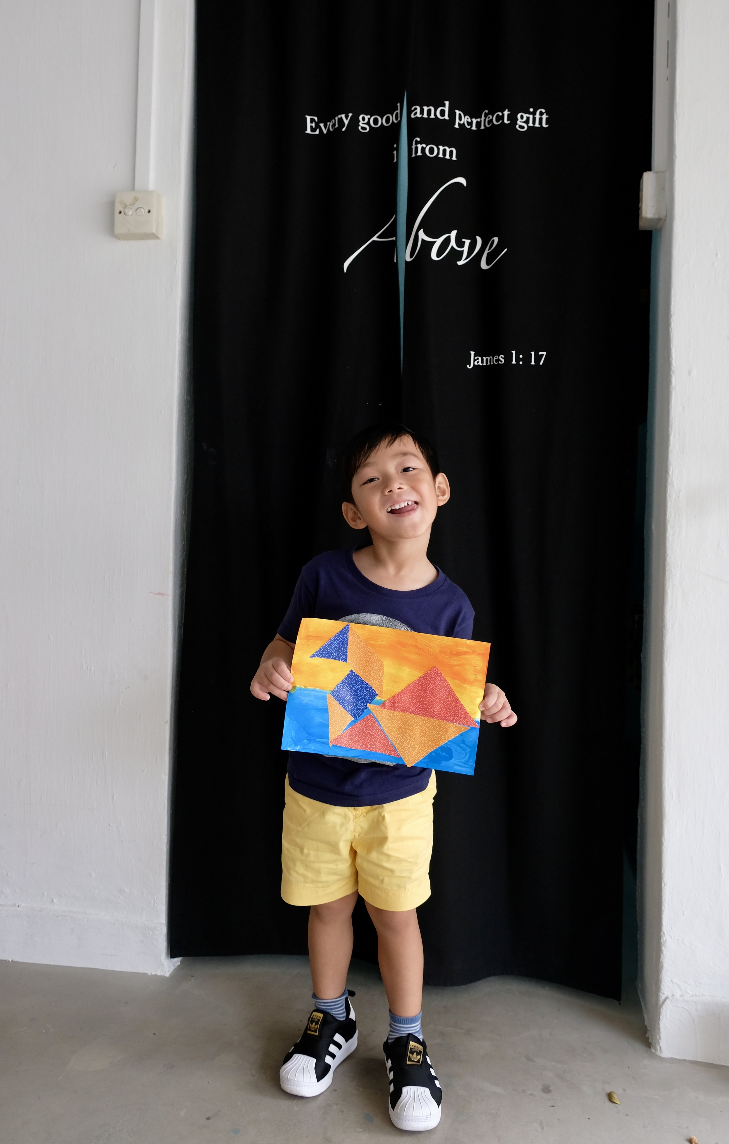 His finished piece of artwork!