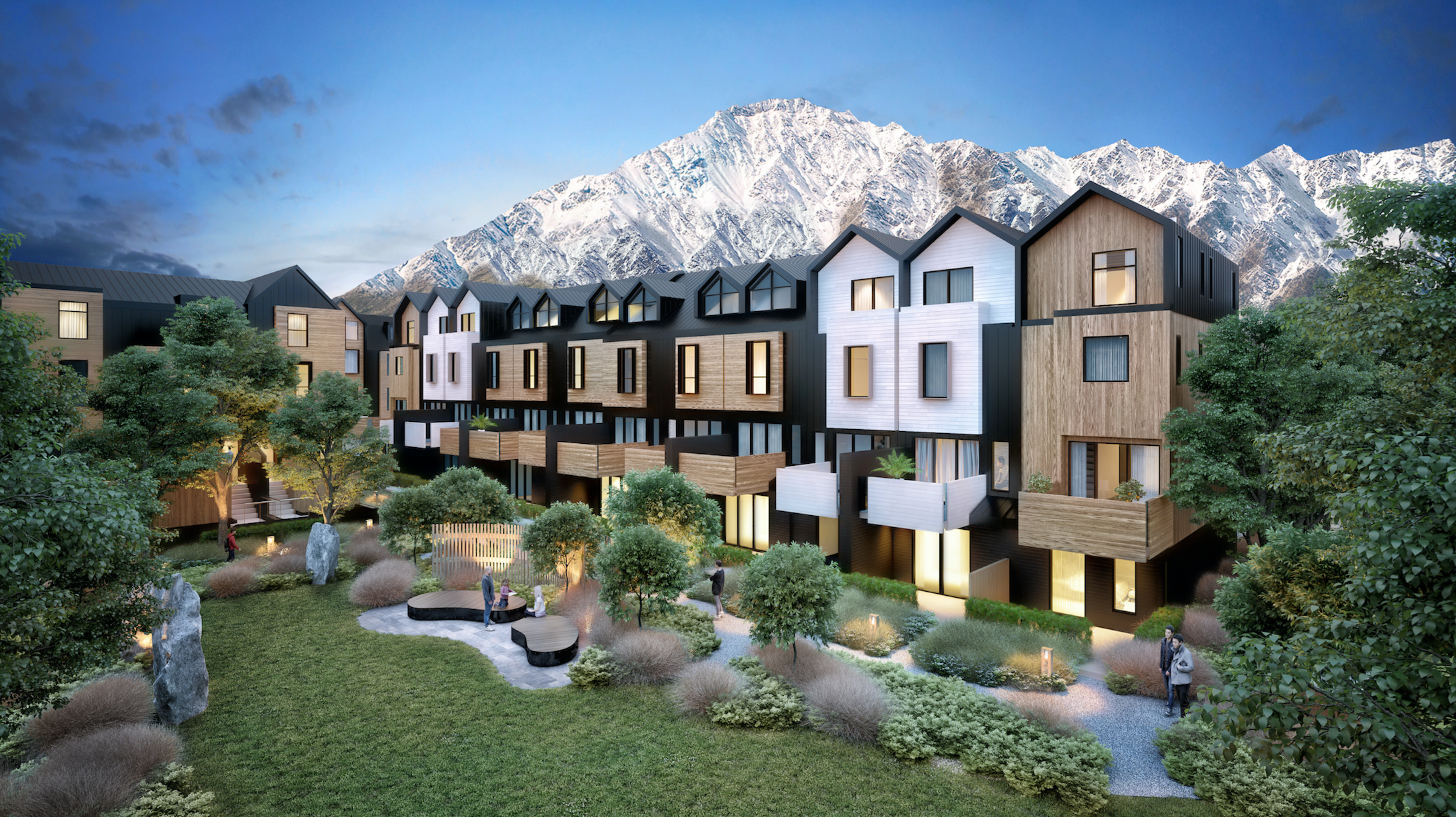 Remarkables Residences uses materials inspired by the local landscape and traditional architecture of the region, with dedicated park areas to draw the neighbourhood together.
