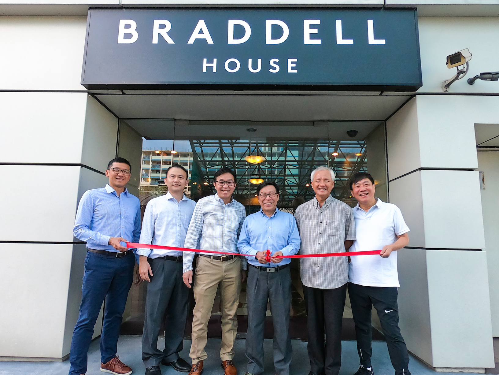 Board of Directors and top management unveil Braddell House on Jan 2, 2019, completing the transformation of GYP Properties into a property company. From left: Chua Joan Keat, Chief Financial Officer; Loo Wen Lieh, Director; Ng Tiong Gee, Director; Mah Bow Tan, Chairman; Andrew Tay, Director; and Stanley Tan, Chief Executive Officer.