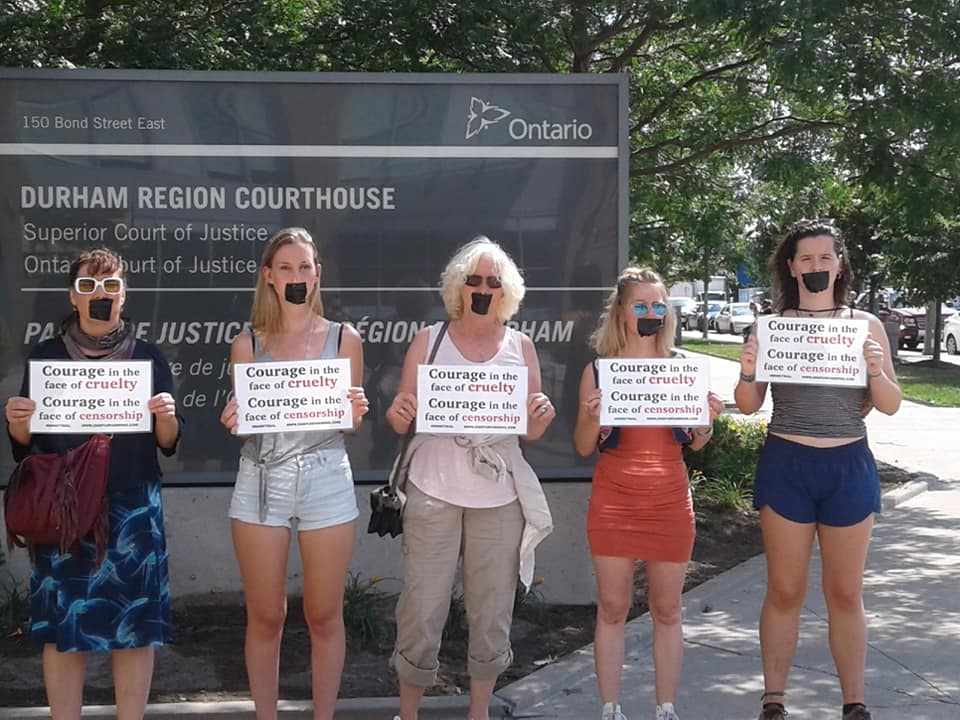 Courage in the face of cruelty.  Courage in the face of censorship. - Activists protest the arrest of Mr. Klimowicz at the Durham Region Courthouse - 2018