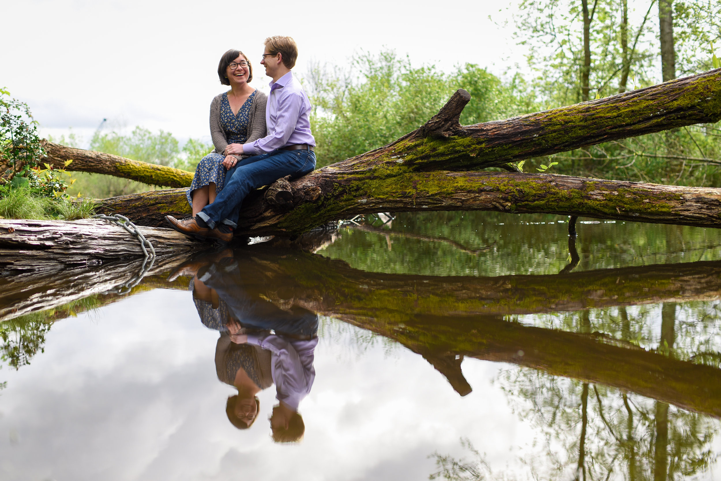 Erica and Matthew Fun and Light Nature Outdoors Engagement Portrait at Washington Park Arboretum in Seattle Washington
