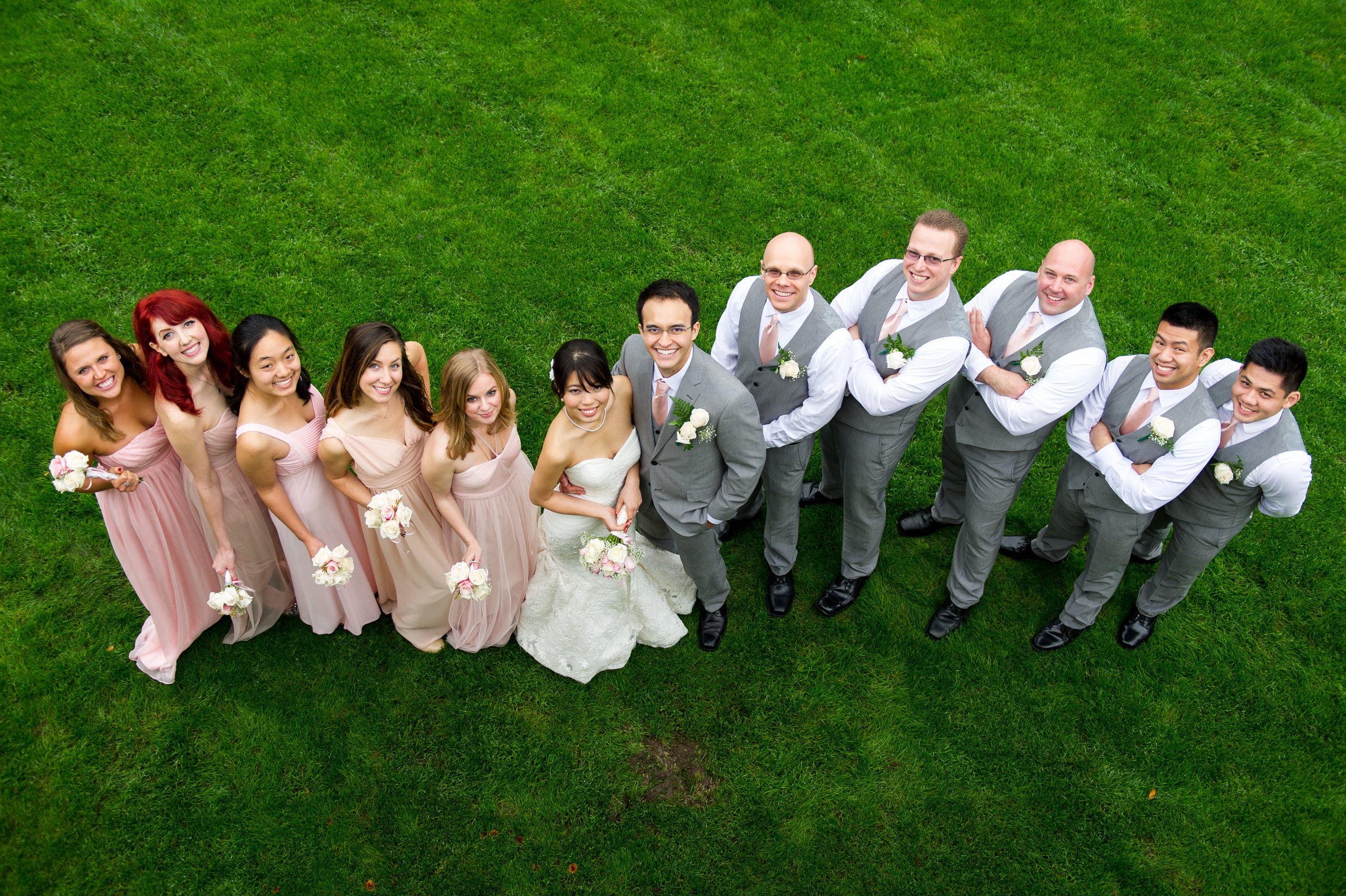 Tiffany and Chris Nature Outdoors Pacific Northwest Wedding Party Fun Portrait in Washington