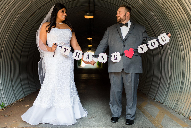 Happy Indian Bride and Groom Wedding Portrait