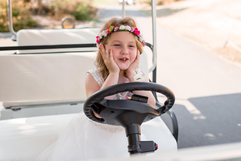 Flower Girls Drive around in Golf Cart at Echo Falls Golf Course