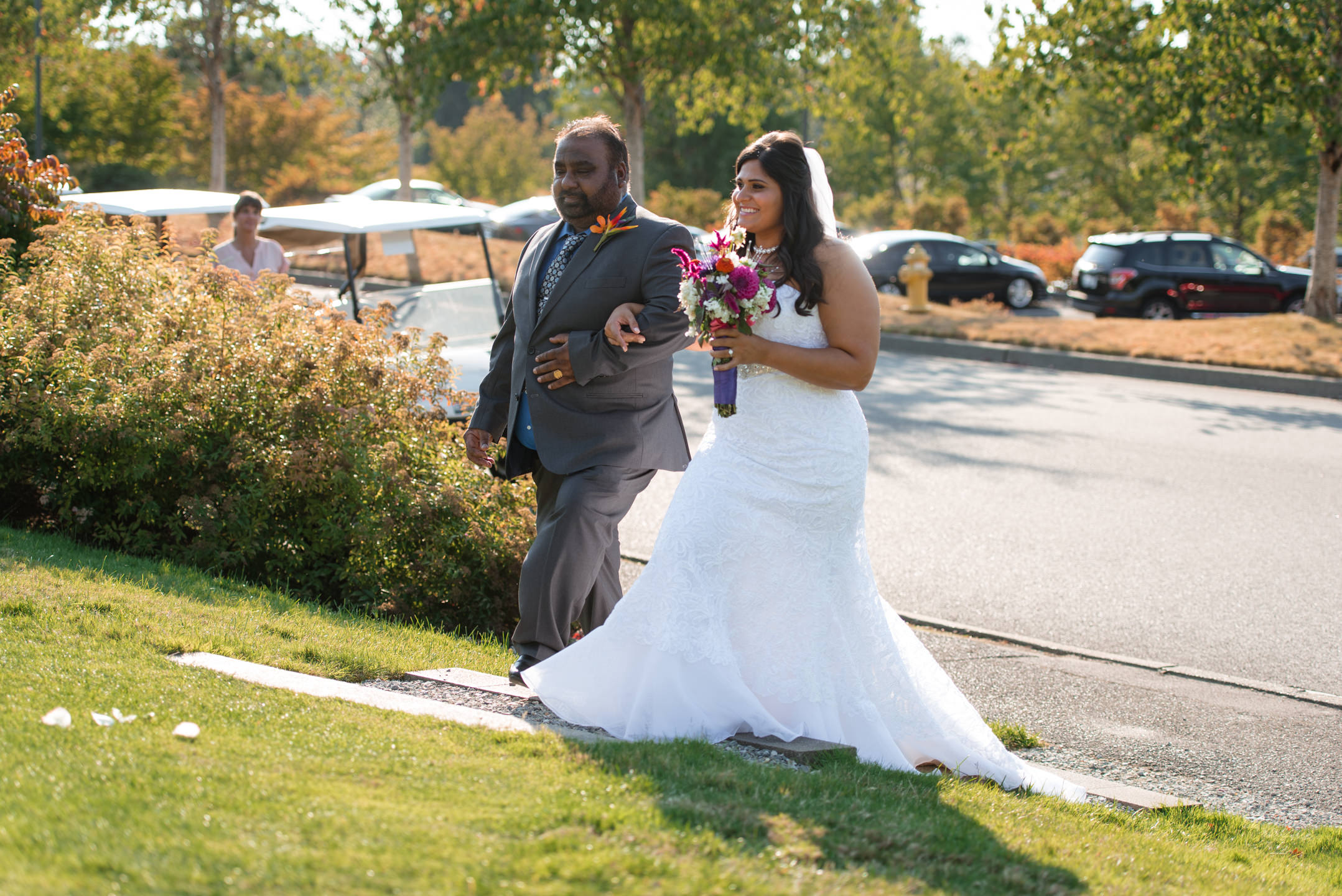 Indian Bride and Uncle Walk Down Aisle at Wedding Ceremony