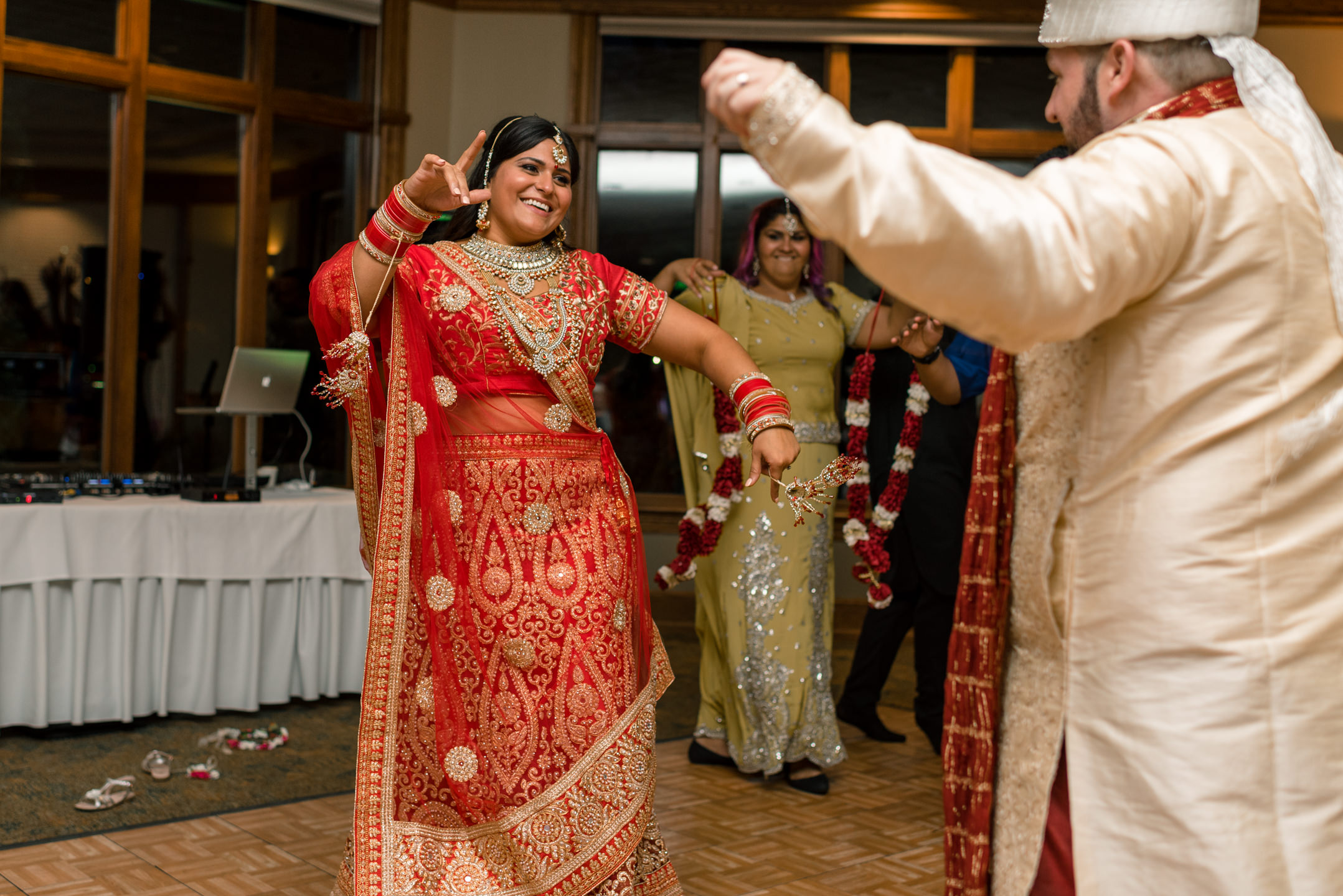 Indian Bride and Groom Dance during Wedding Reception