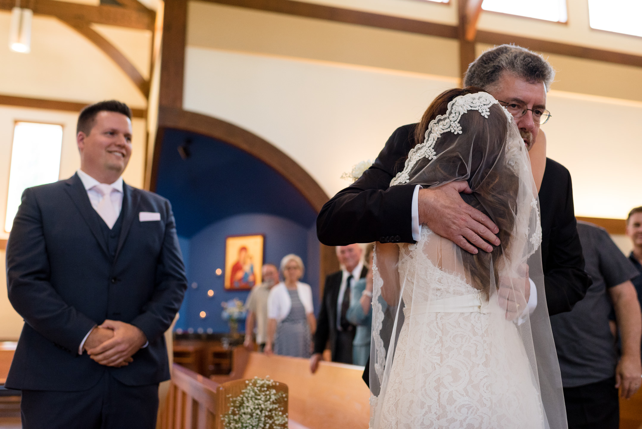 Salvadoran Bride and Groom's Father Walk Down Aisle