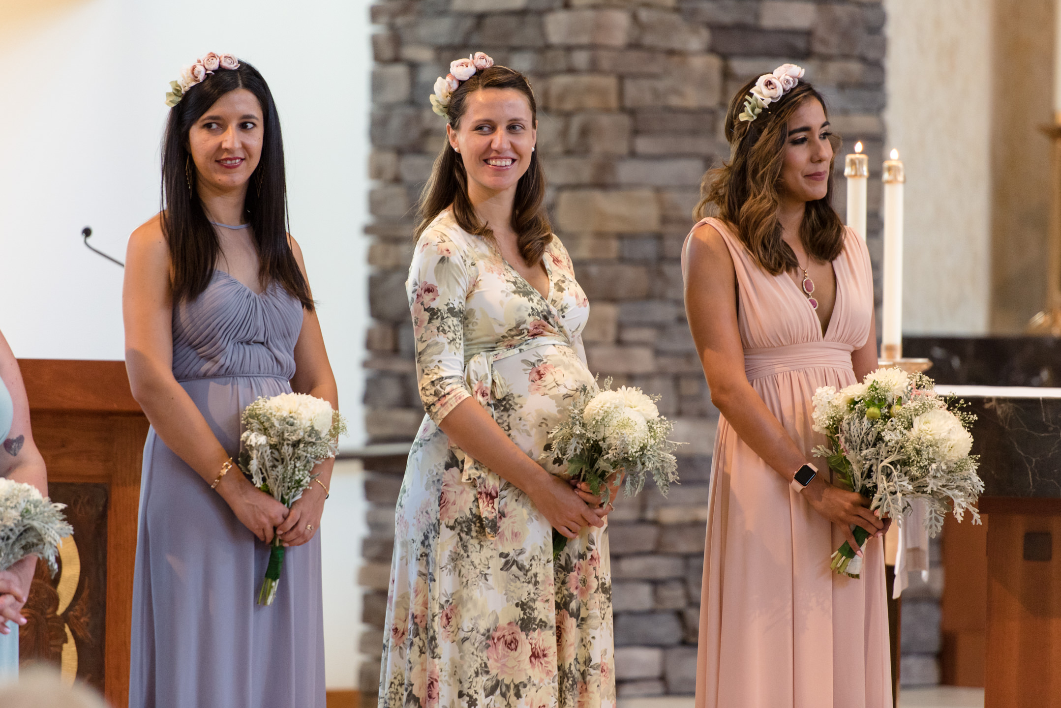 Happy Bridesmaids Laugh during Wedding Ceremony at Saint Theresa of Calcutta
