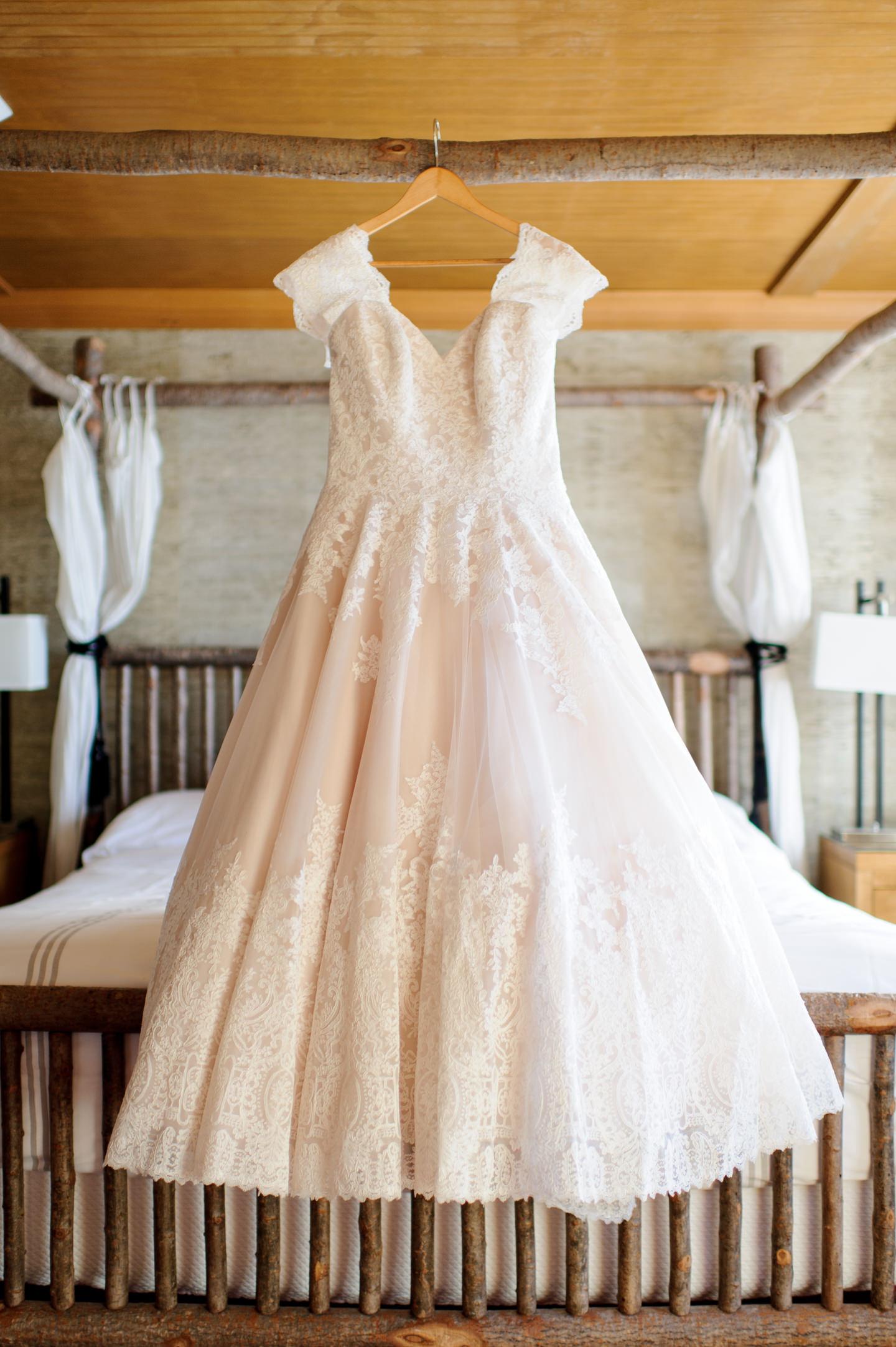 Wedding Dress Details at Edgewater Hotel