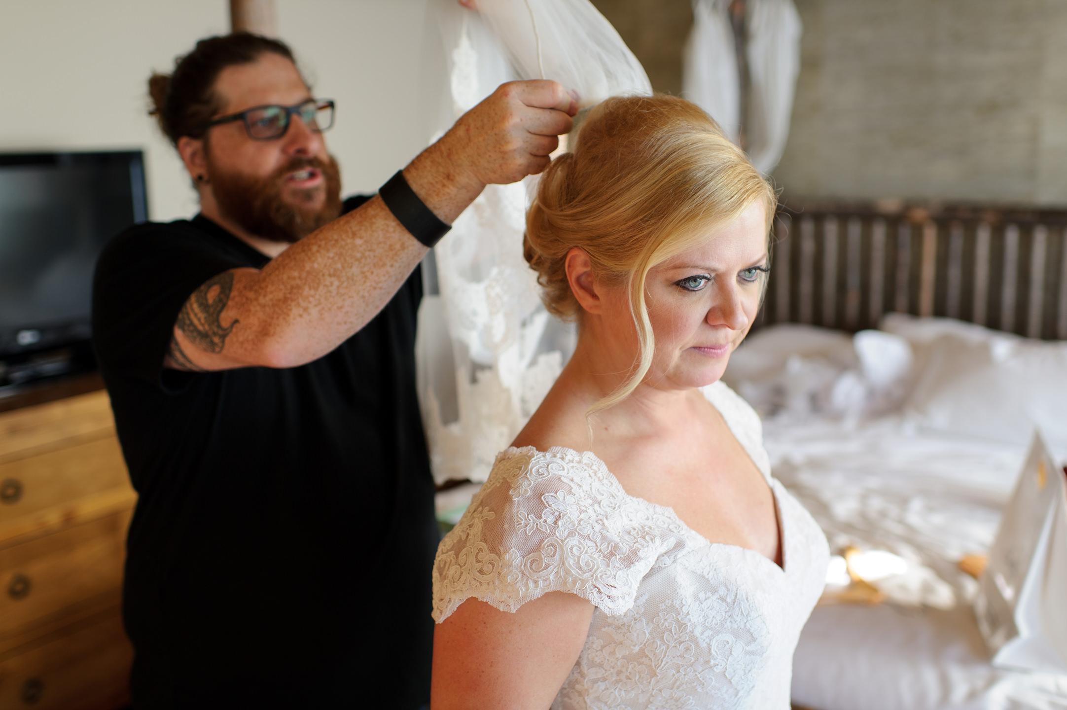Bride Hair and Makeup at Edgewater Hotel