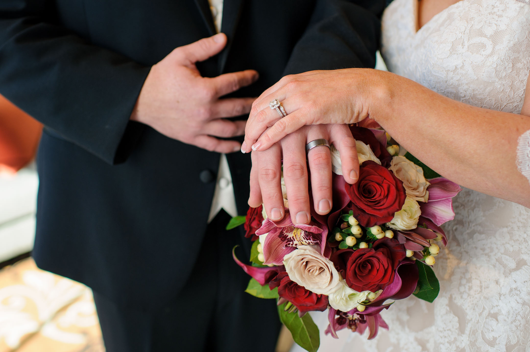 Wedding Rings and Bouquet Details