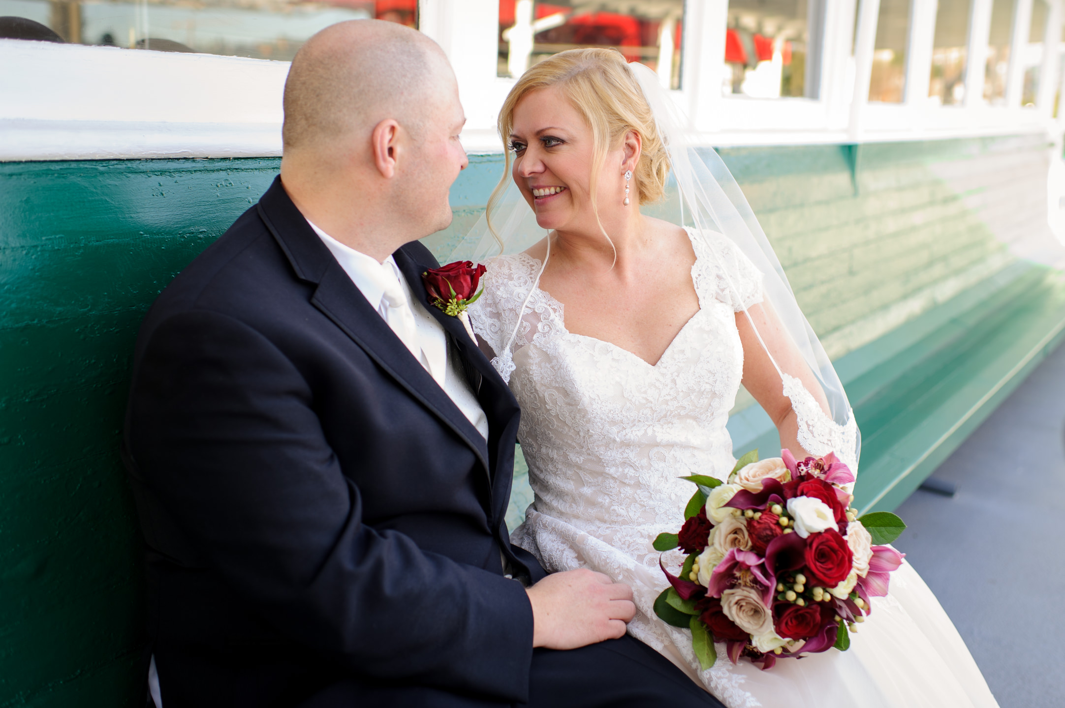 Happy Bride and Groom Smile at MV Skansonia