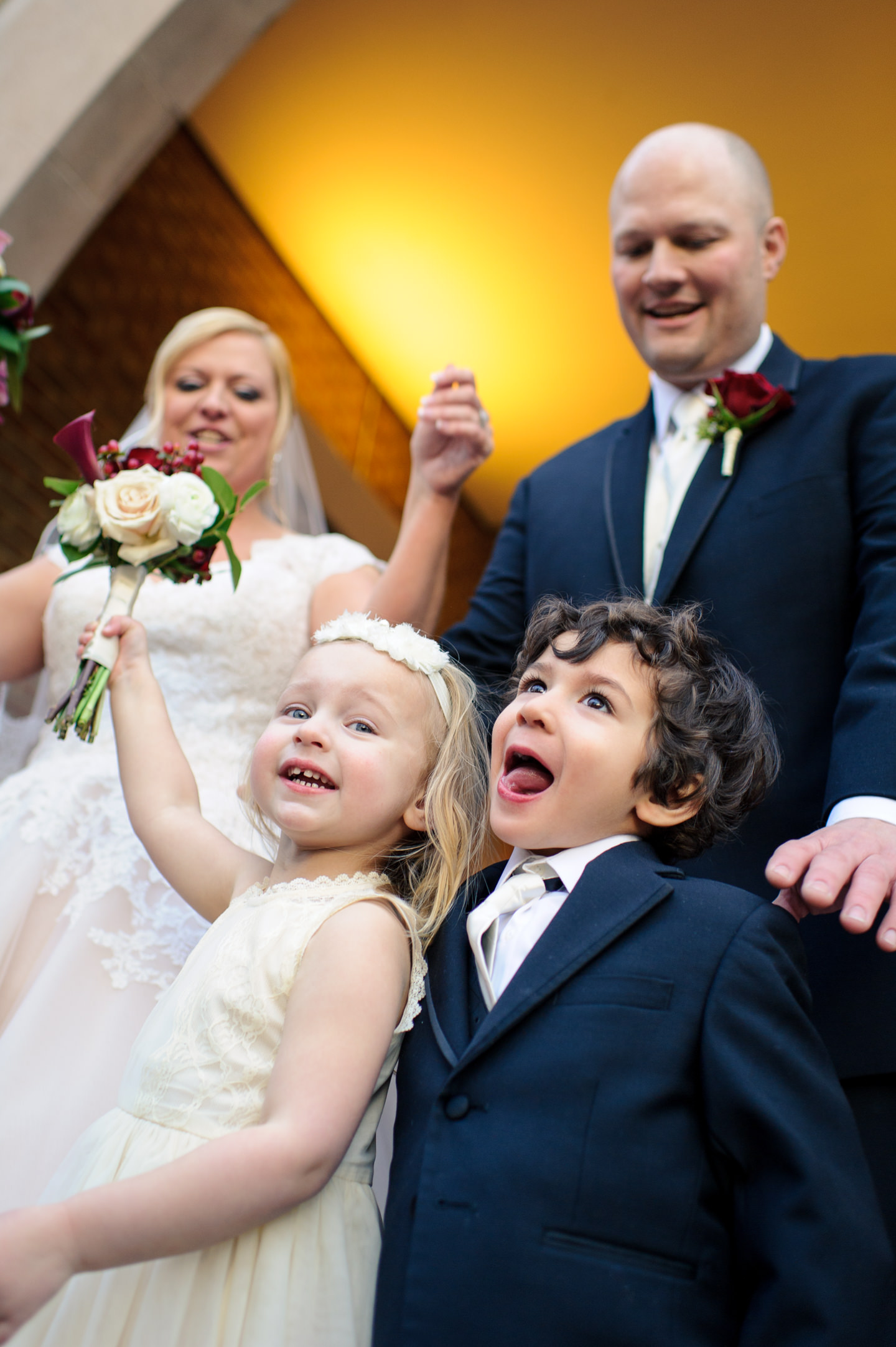 Laughing Kids and Bride and Groom
