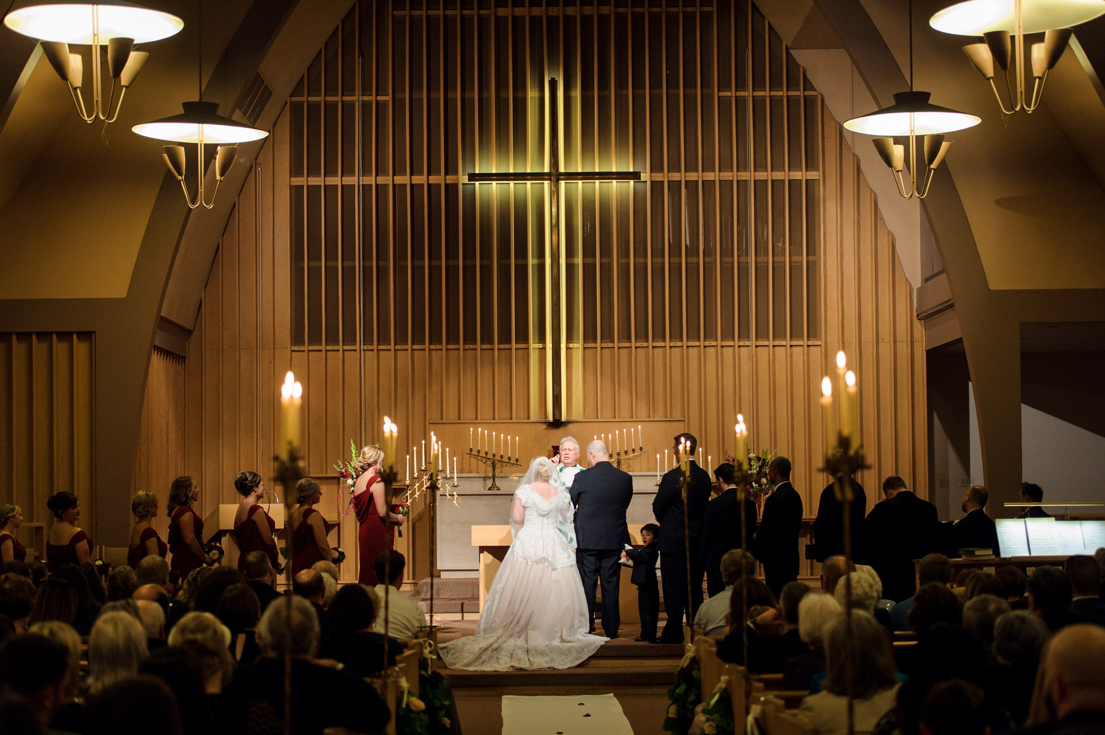 Bride and Groom Arrive at Altar During Wedding at University Lut