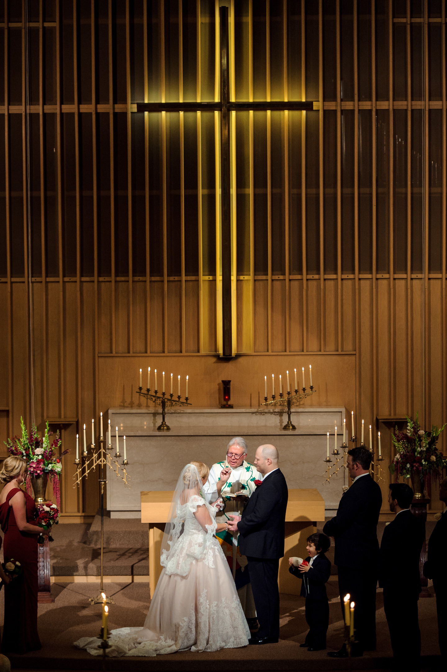 Bride and Groom During Wedding Ceremony at University Lutheran Church