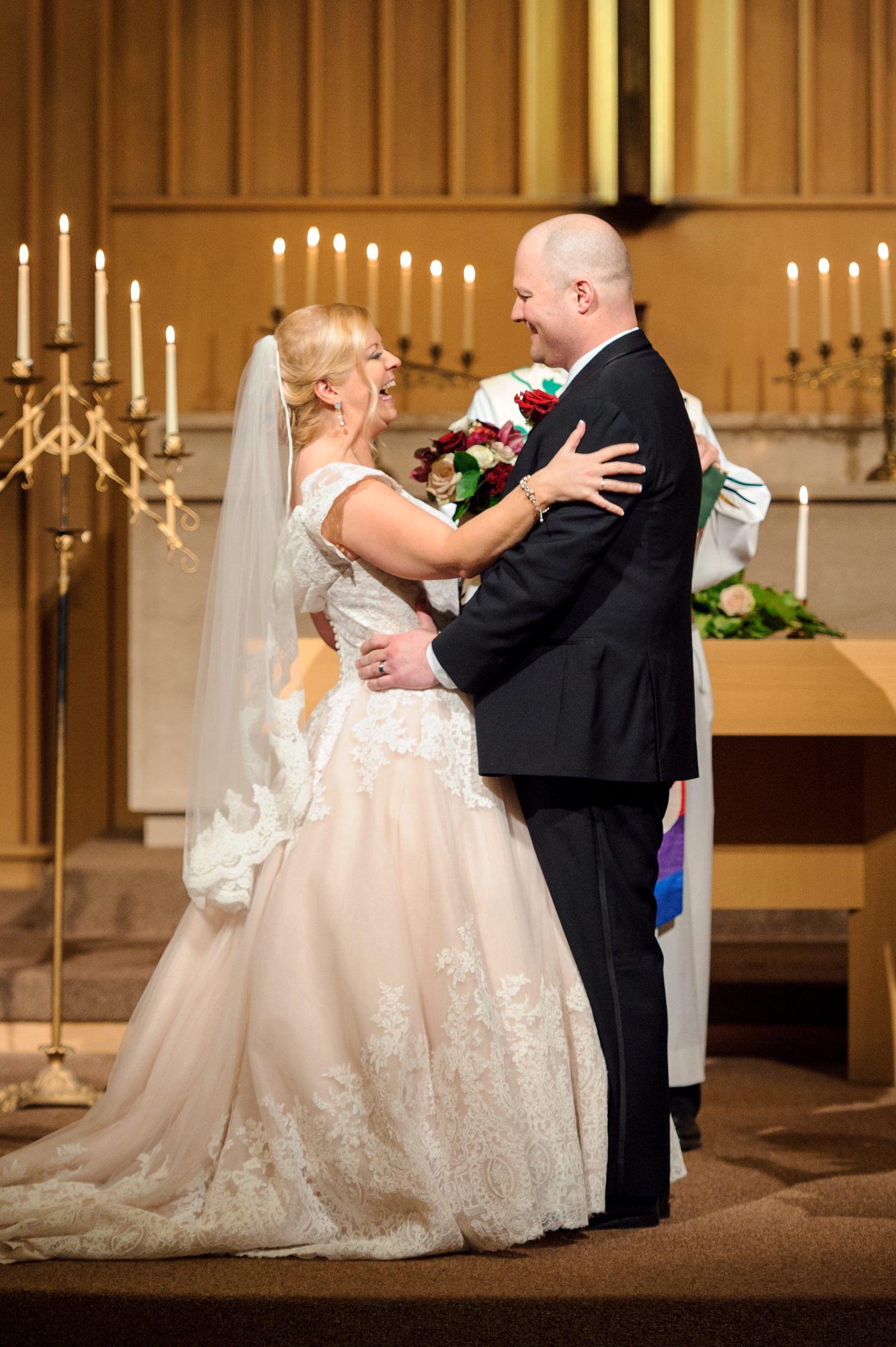 Bride and Groom Just Married at University Lutheran Church