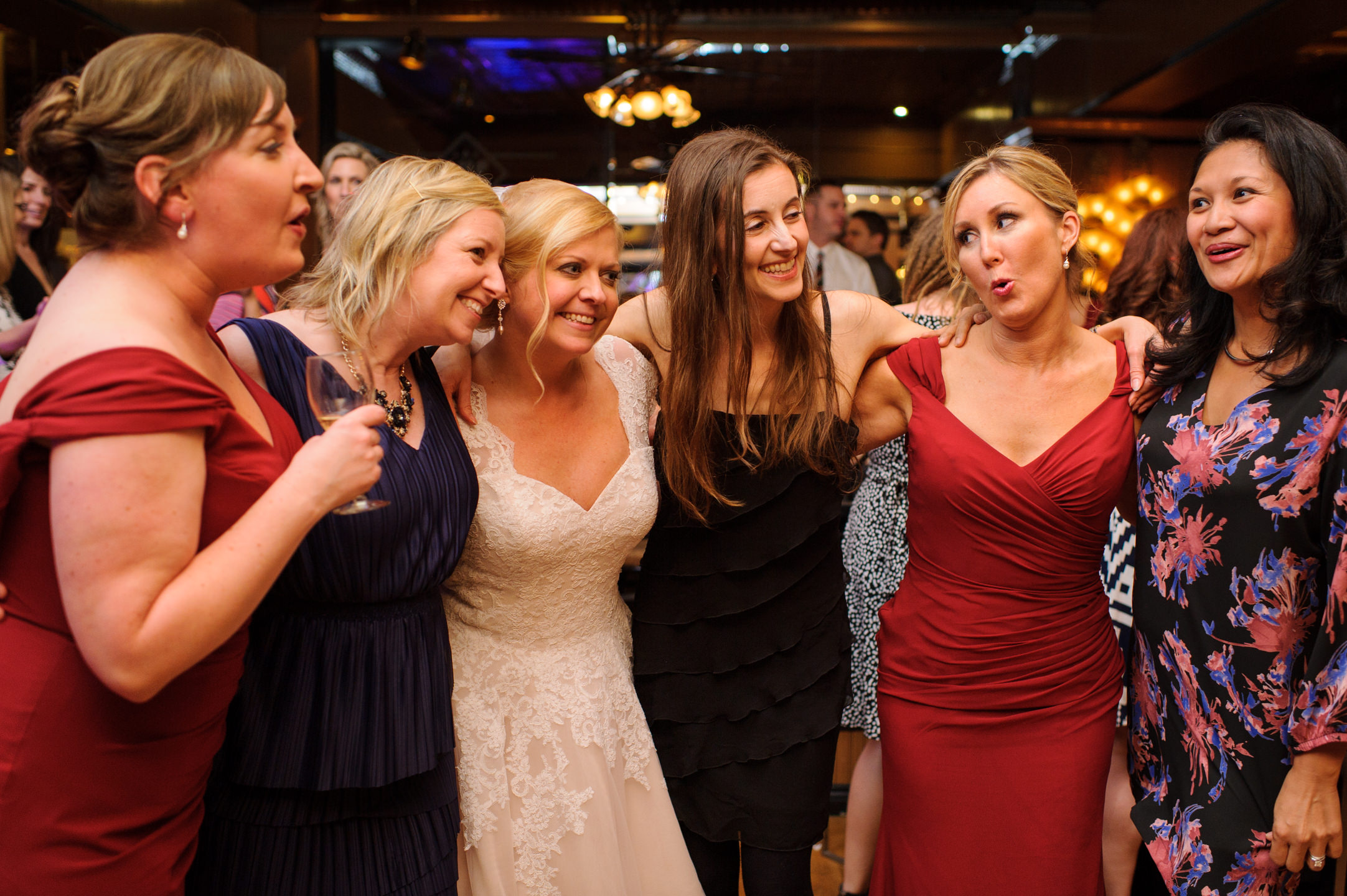 Bride and Bridesmaids Dance at Lake Union Cafe