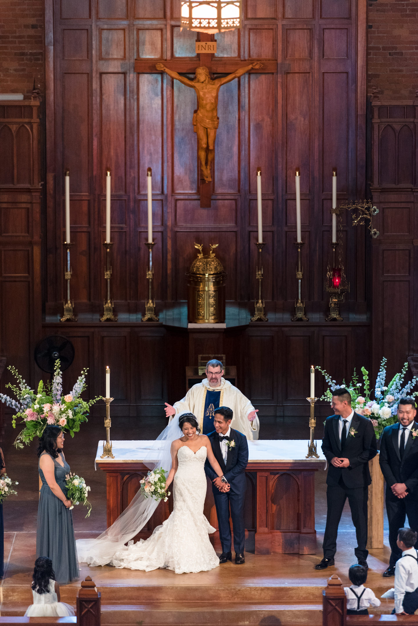Asian Bride and Groom Celebrate being Just Married
