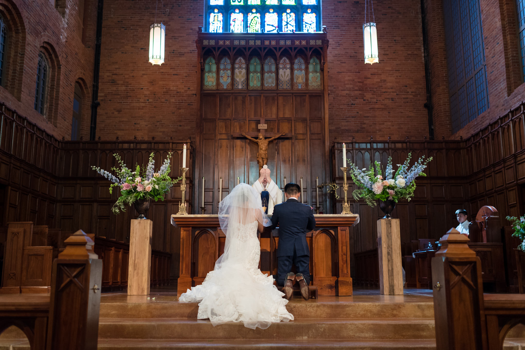 Asian Bride and Groom Pray during Wedding Ceremony