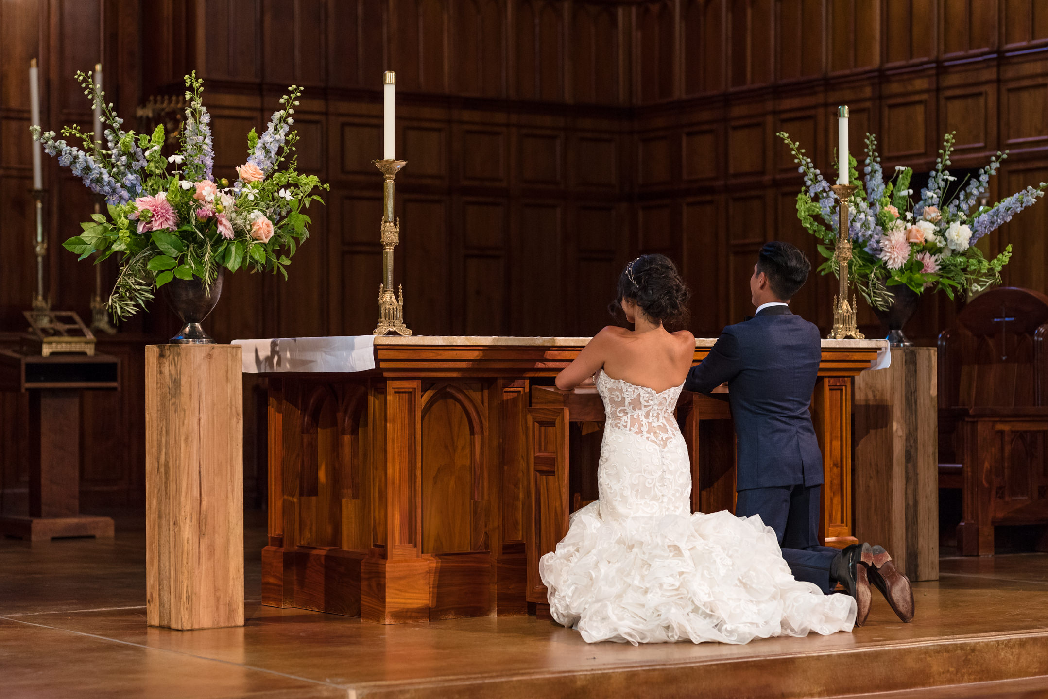 Asian Bride and Groom Pray at Blessed Sacrament Catholic Church