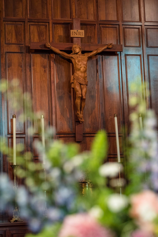 Crucifix Wedding Ceremony Detail at Blessed Sacrament Catholic C