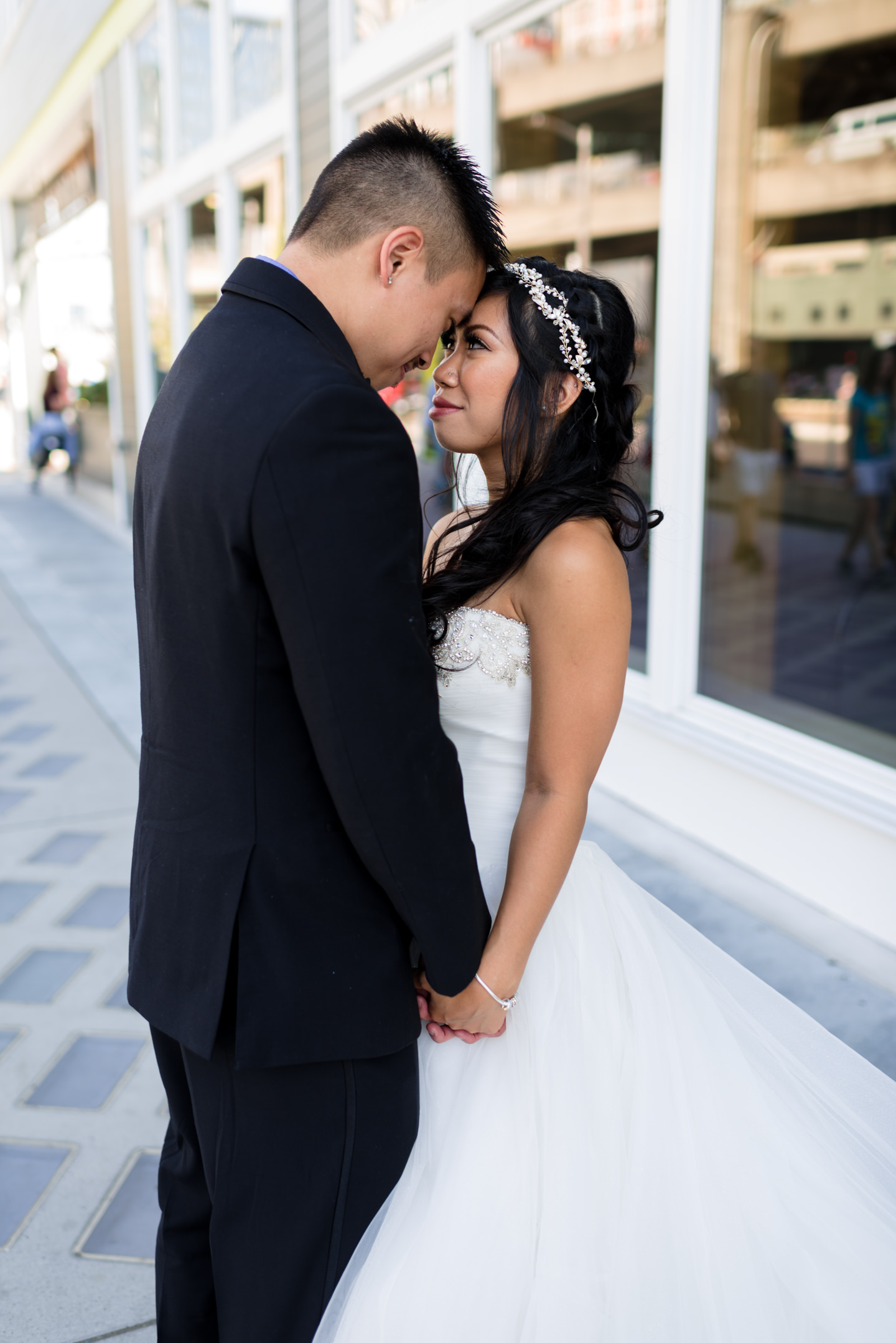 Asian Bride and Groom Romantic Wedding Portrait at Seattle Water