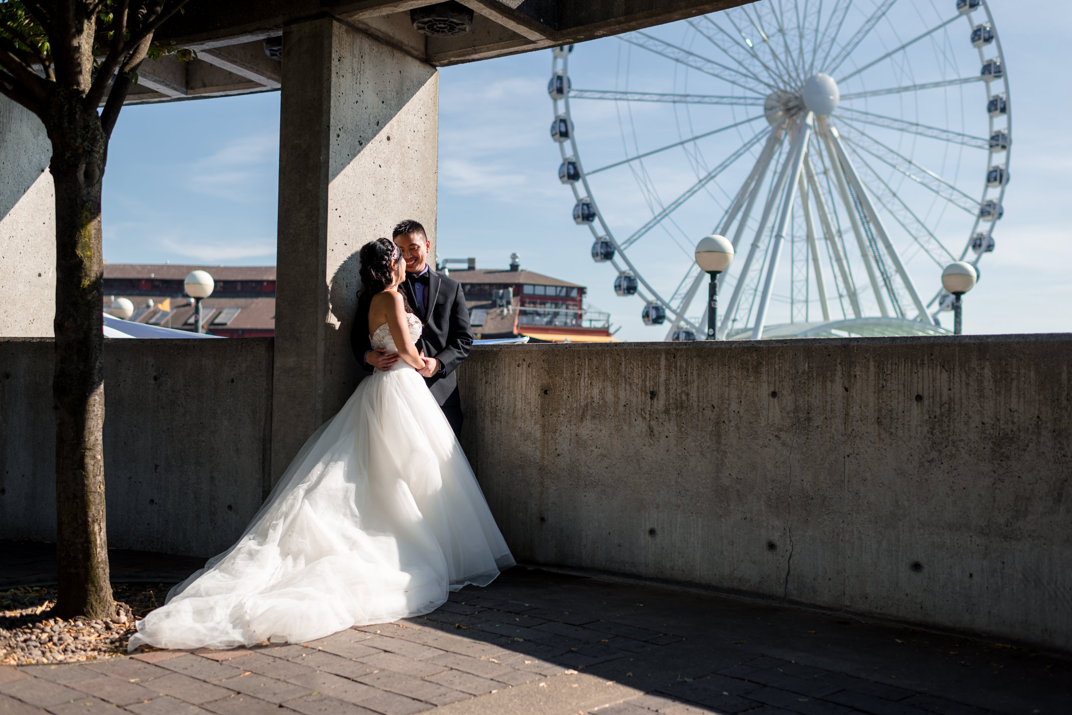 Asian Bride and Groom Romantic Wedding Portrait Seattle Great Wh