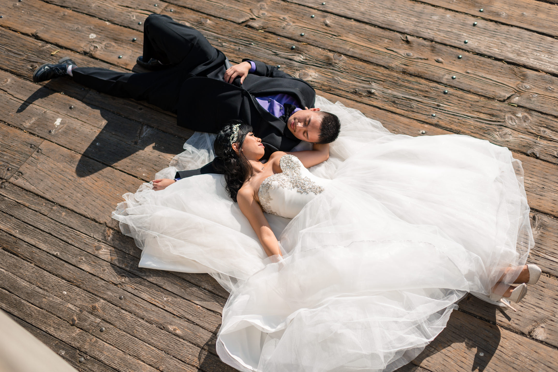 Asian Bride and Groom Romantic Wedding Portrait Seattle Waterfro
