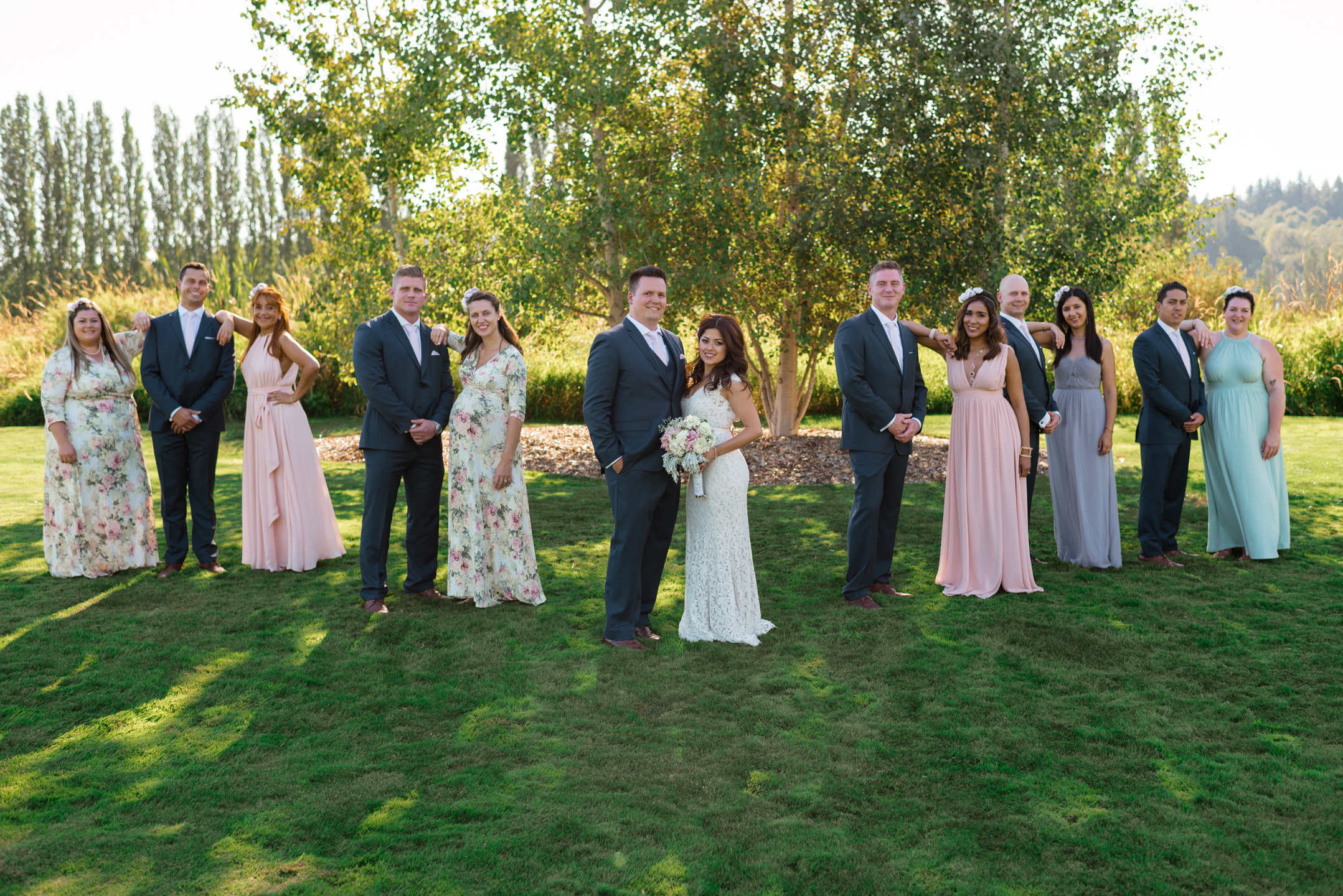 Editorial Wedding Party Portrait at Woodinville Lavender