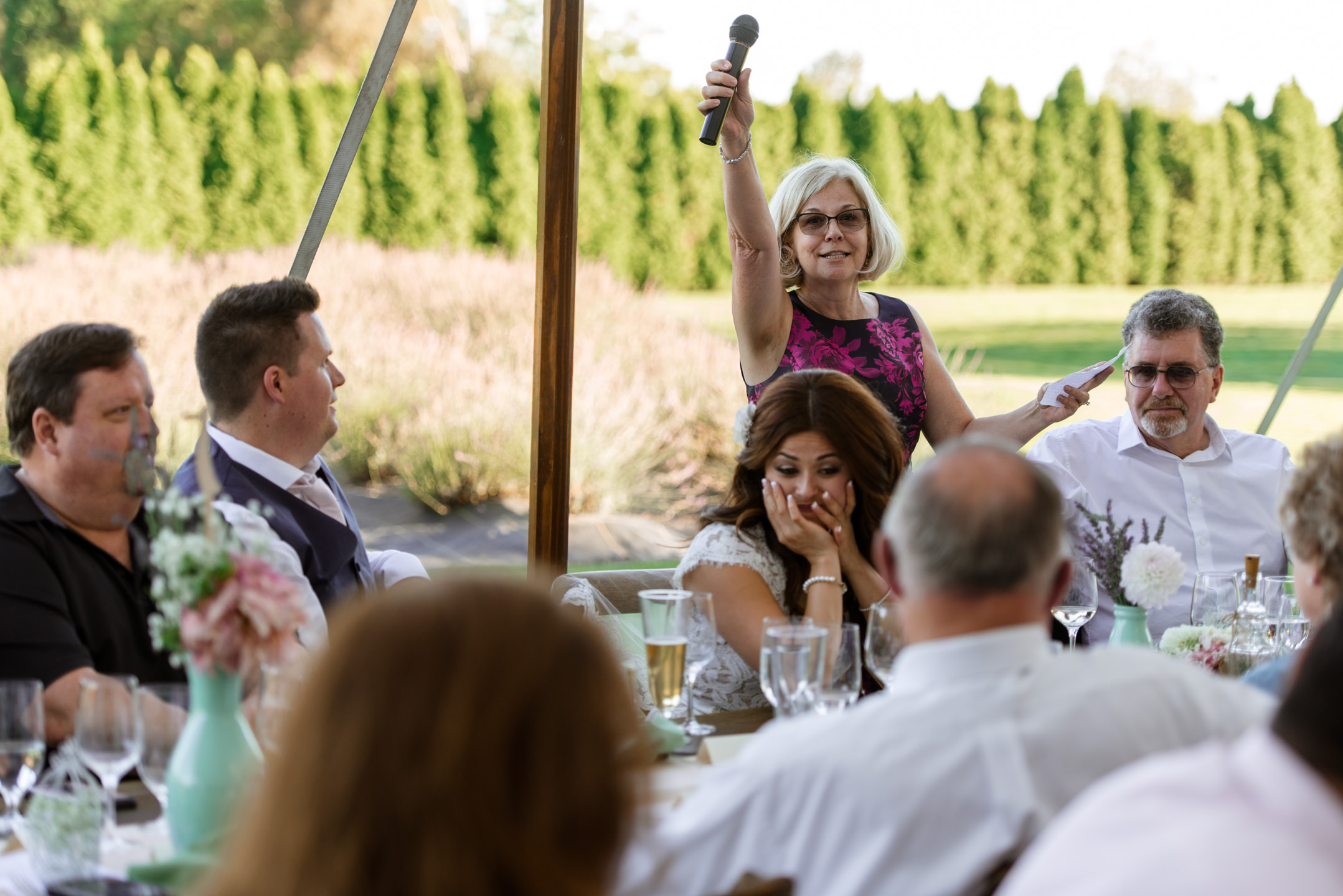 Excited Mother Wedding Toast at Woodinville Lavender