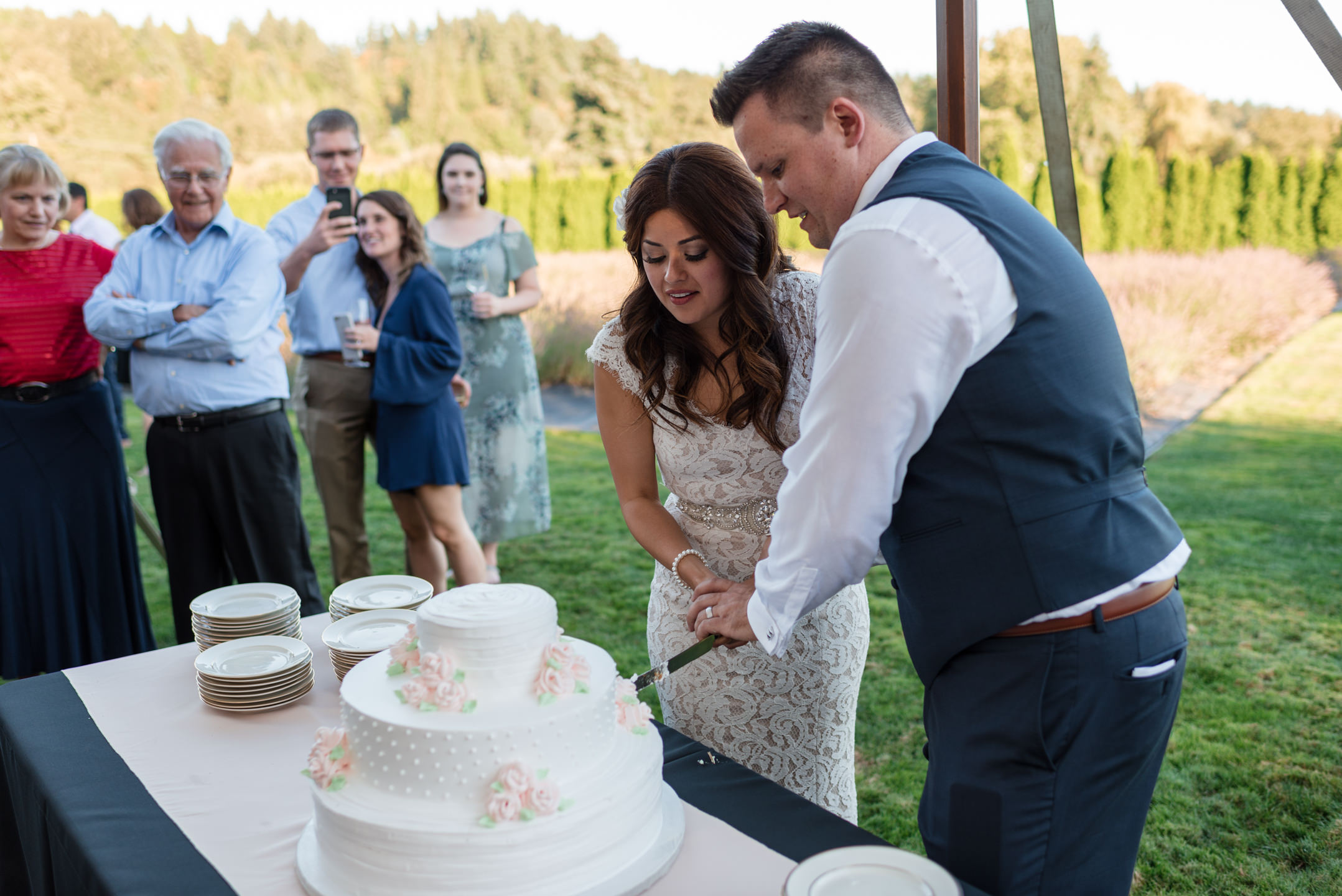 Salvadoran Bride and Groom Cake Cutting at Woodinville Lavender