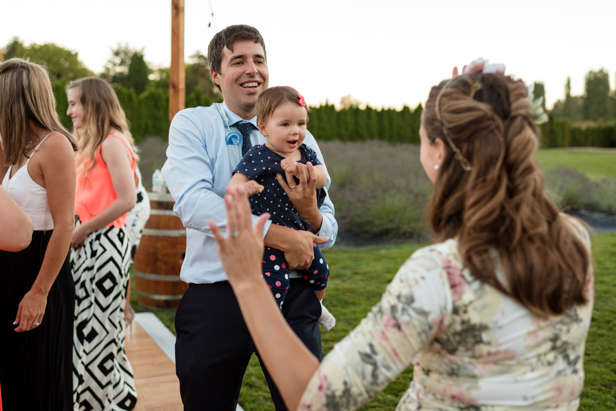 Wedding Guests Dance during Reception at Woodinville Lavender