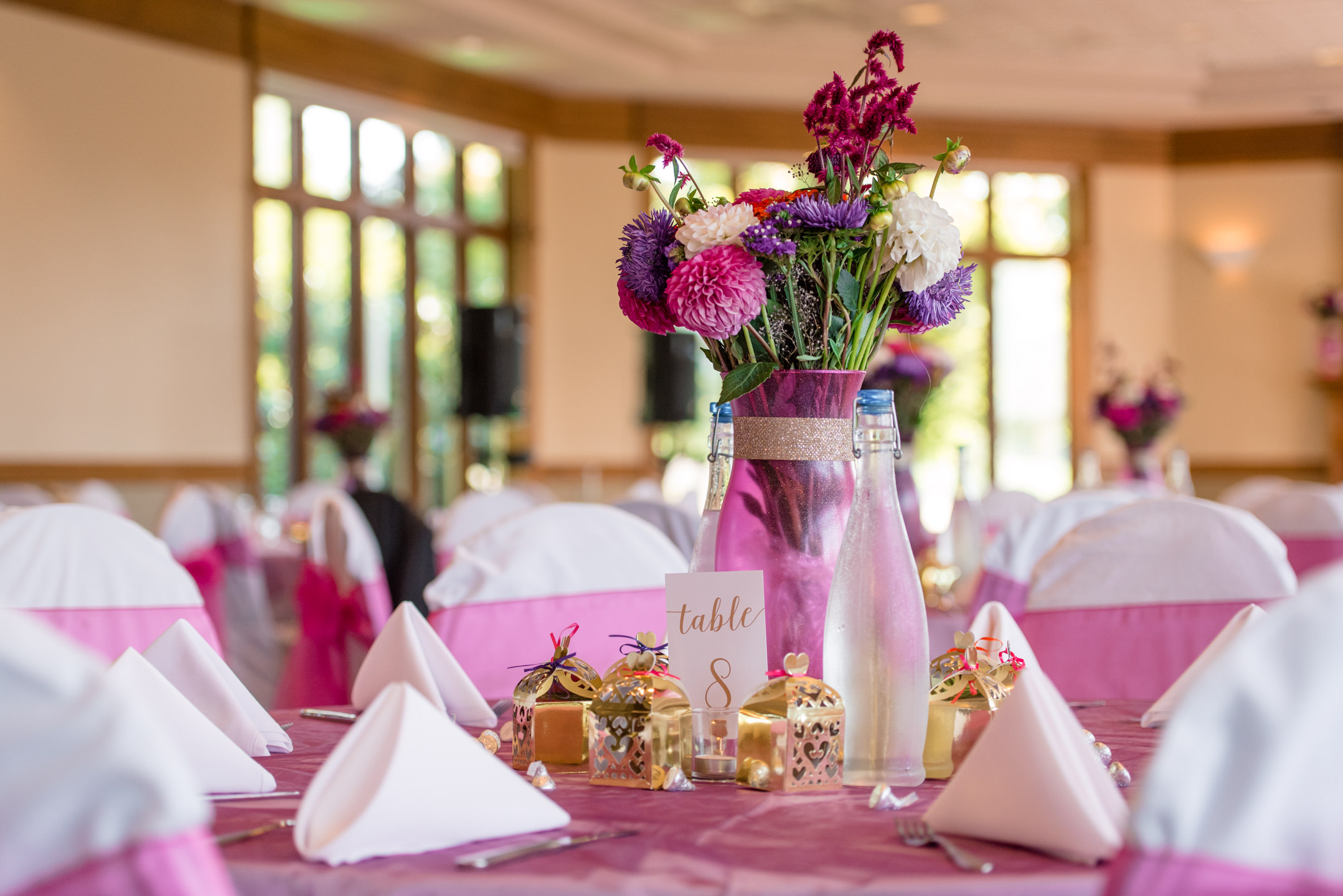 Table Centerpiece Wedding Details at Echo Falls Golf Course