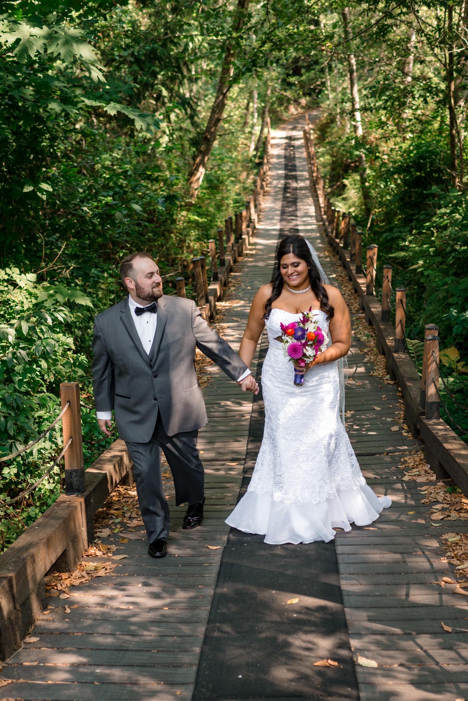 Indian Bride and Groom Walk Around Echo Falls Golf Course