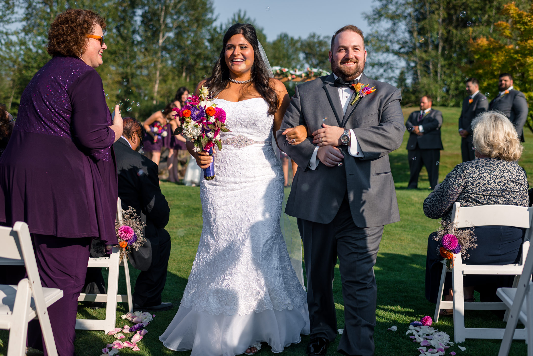 Indian Bride and Groom Happily Just Married at Echo Falls Golf C