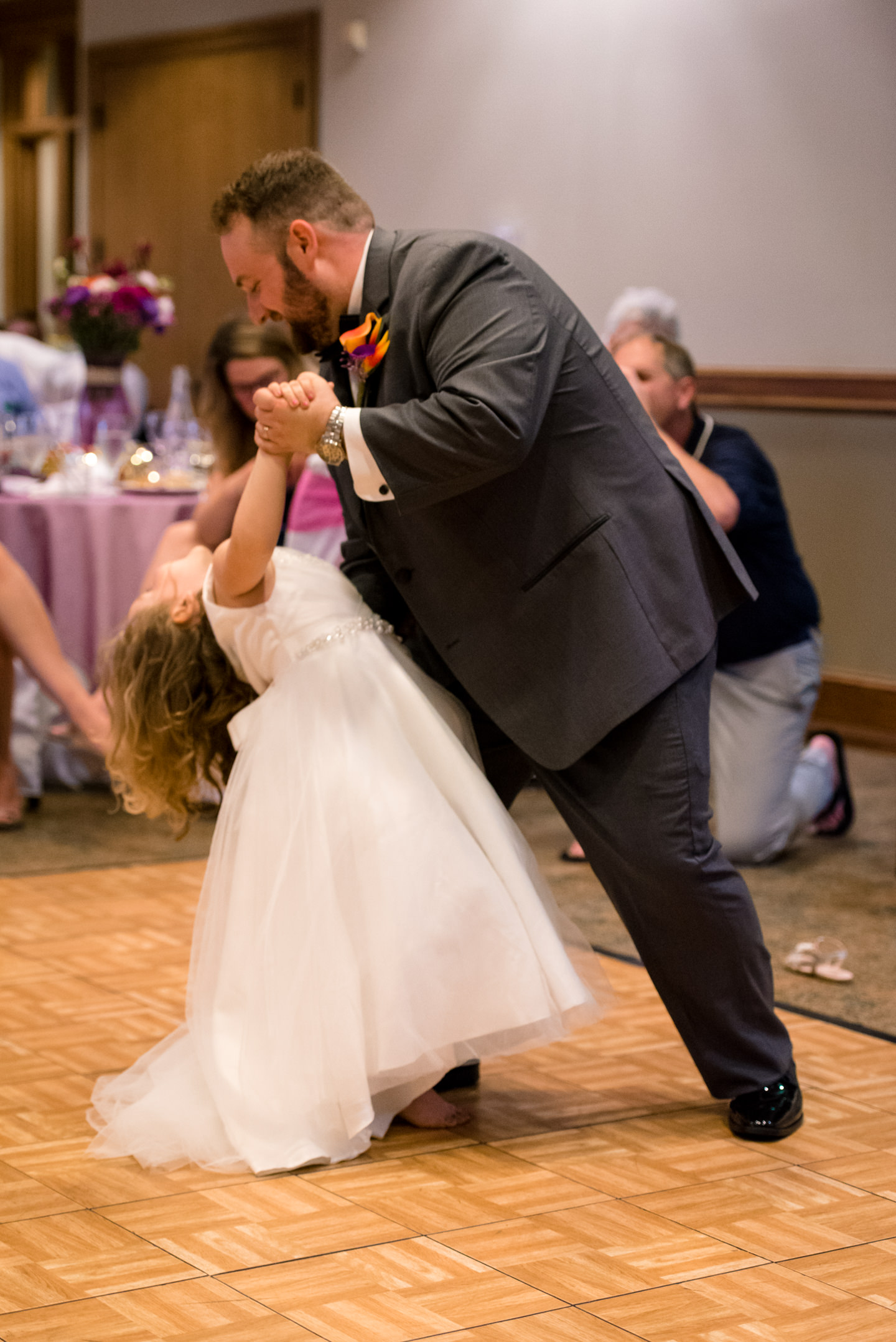 Groom and Daughter Dance during Wedding Reception