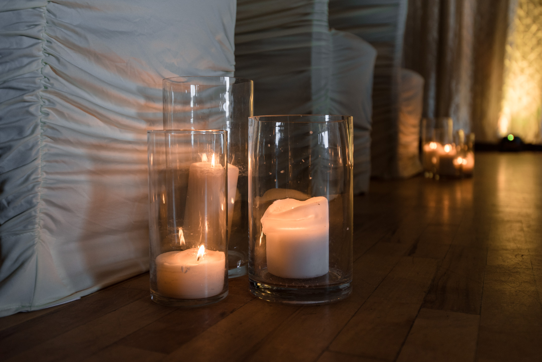 Wedding Ceremony Candles Details at Tyee Yacht Club