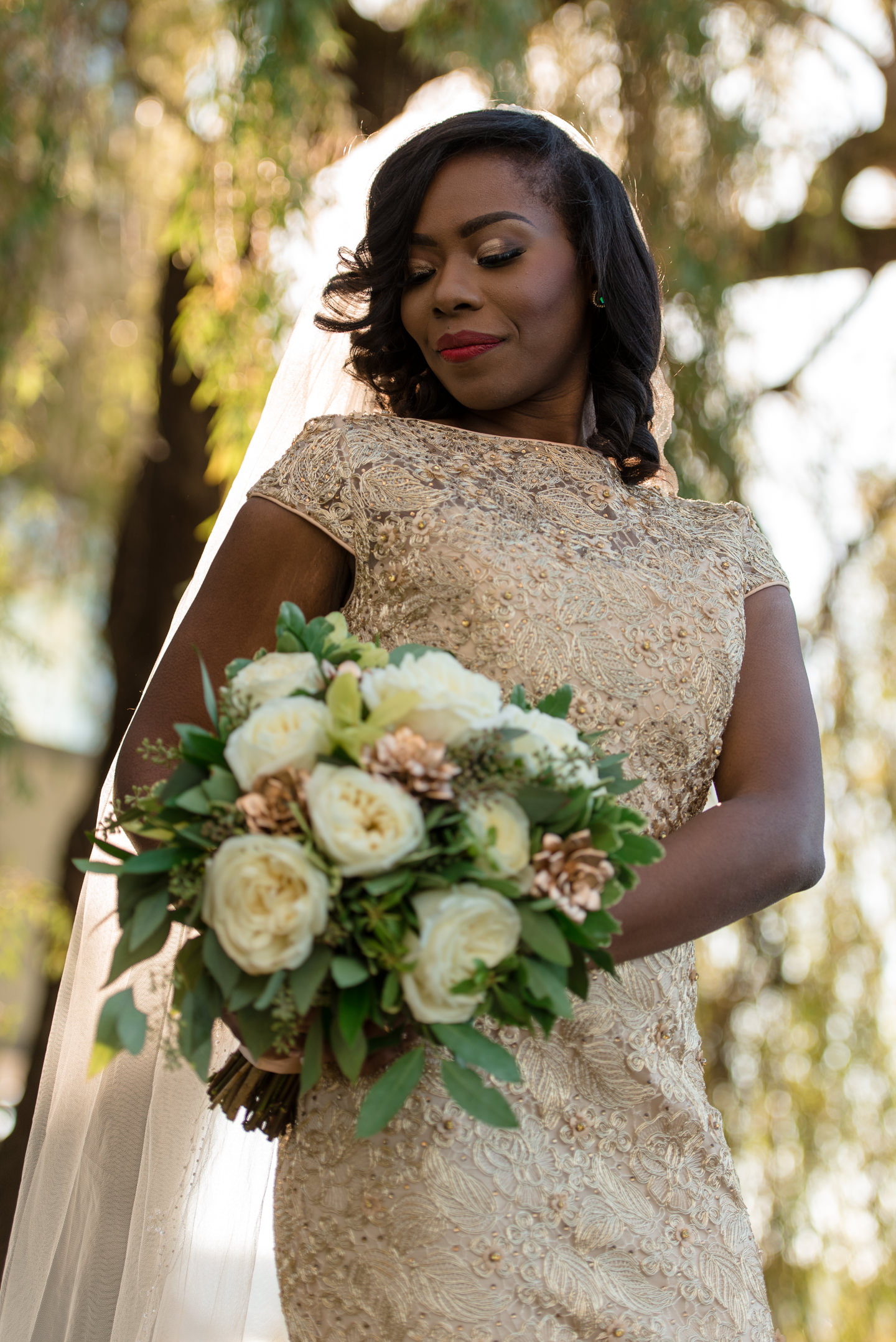 Sunny Outdoor Bridal Portrait at Tyee Yacht Club