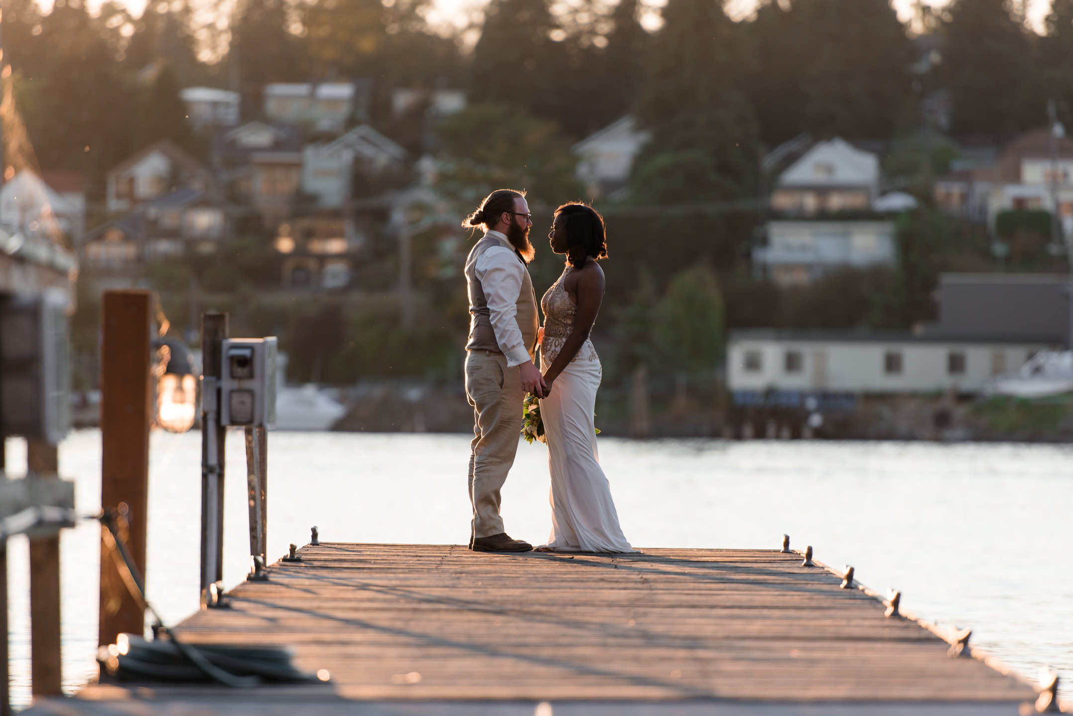 Bride and Groom Portrait at Tyee Yacht Club