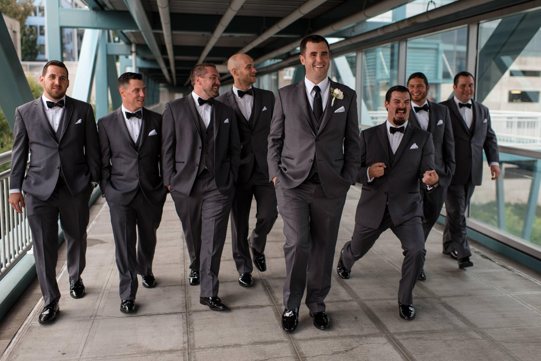 Groom and Groomsmen Wedding Portrait Walk in Seattle