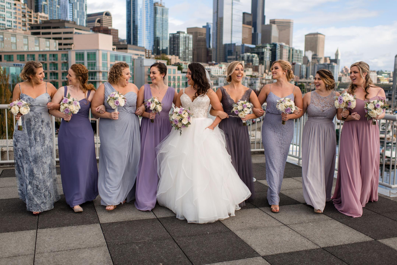 Bride and Bridesmaids Wedding Portrait Seattle Waterfront Skylin