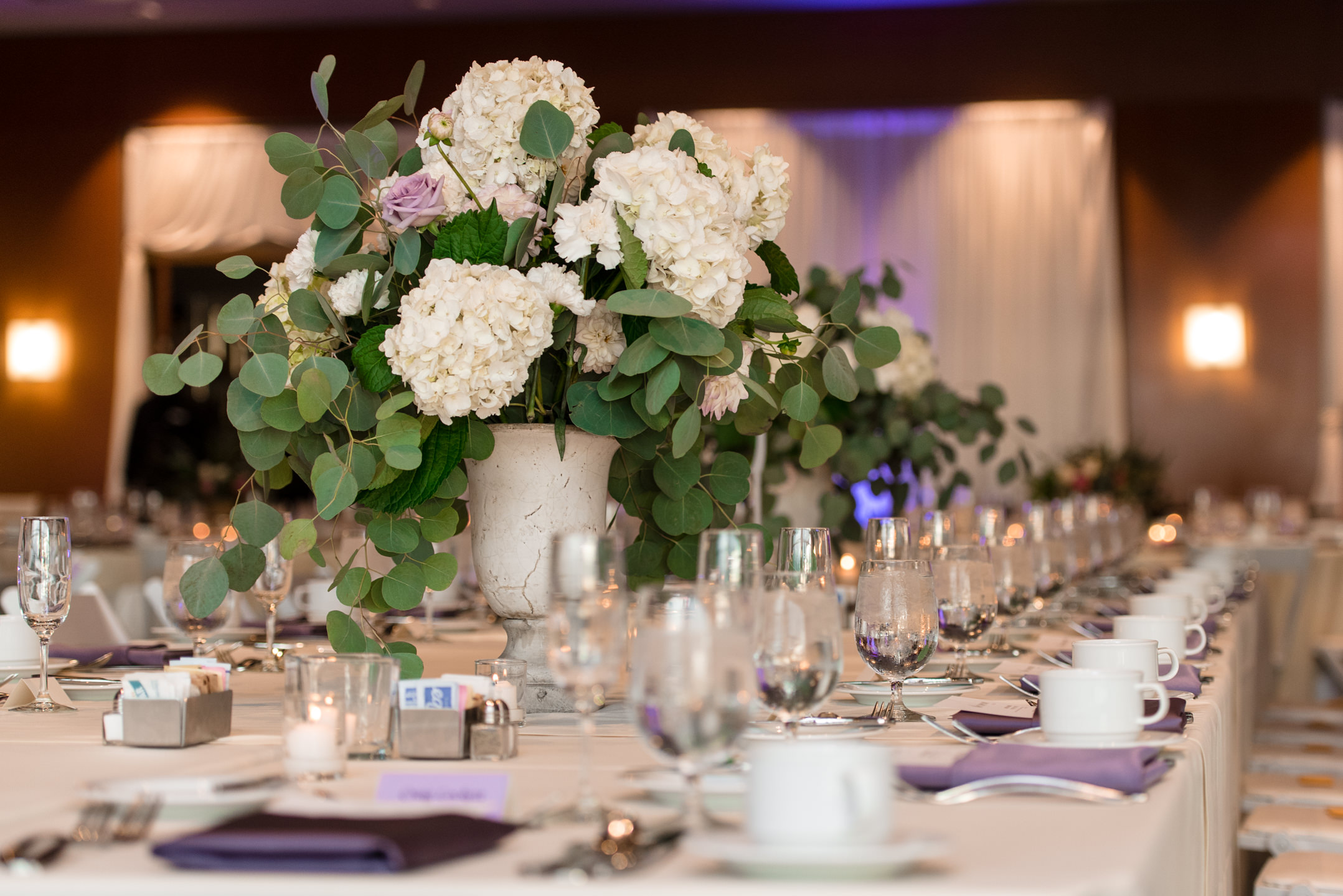 Main Table Centerpiece Wedding Details at Bell Harbor