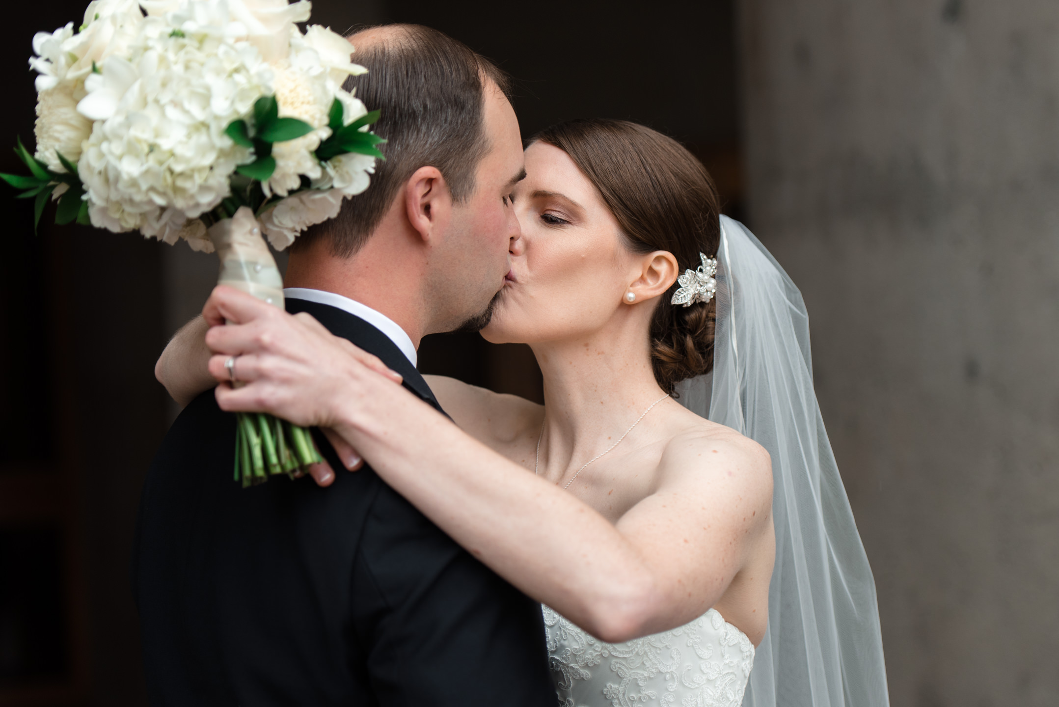 Bride and Groom First Look Kiss at University of Washington