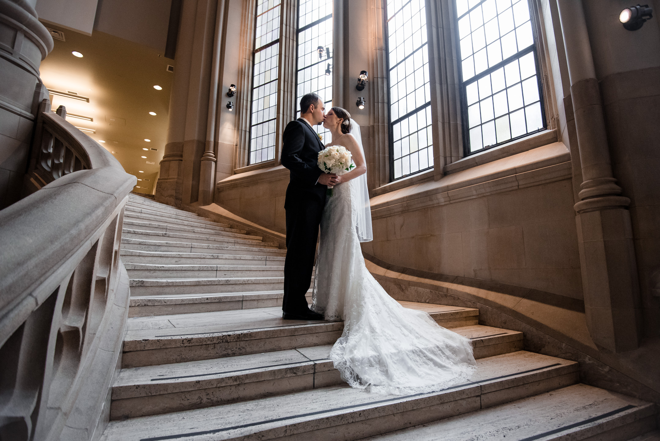 Bride and Groom On Suzzallo Library Stairs