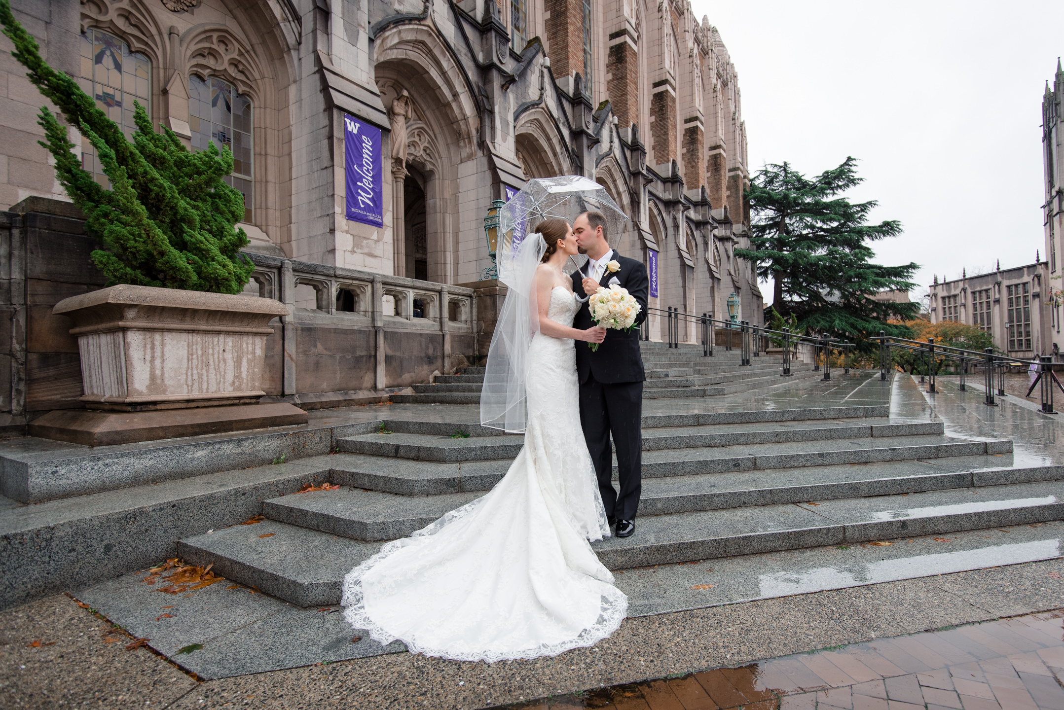 Bride and Groom Kiss at Suzzallo Library
