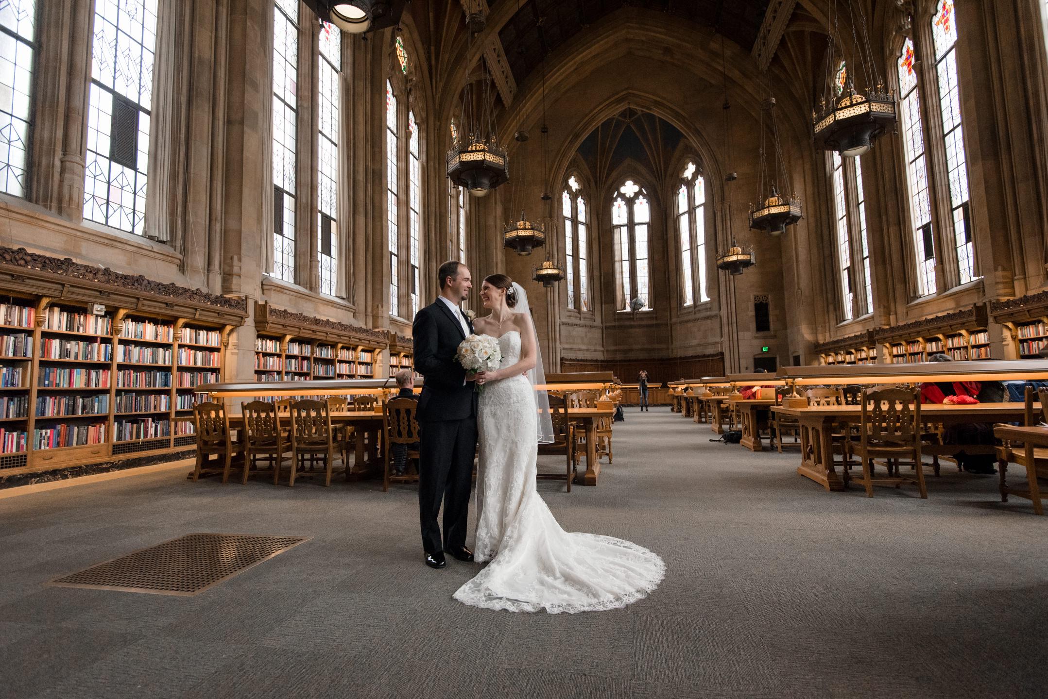 Bride and Groom Inside Suzzallo Library
