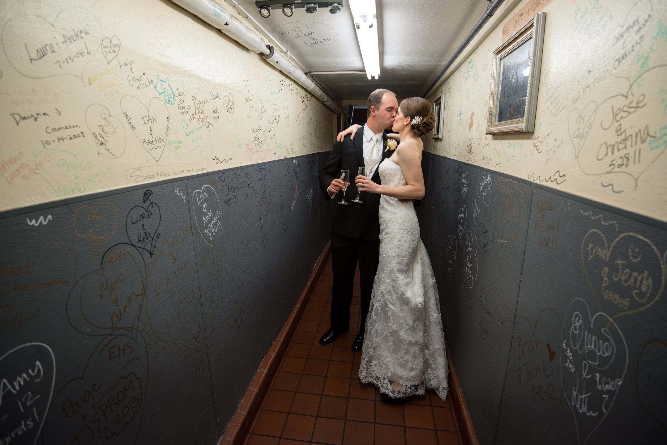 Bride and Groom Kiss at Lake Union Cafe Just Married Wall
