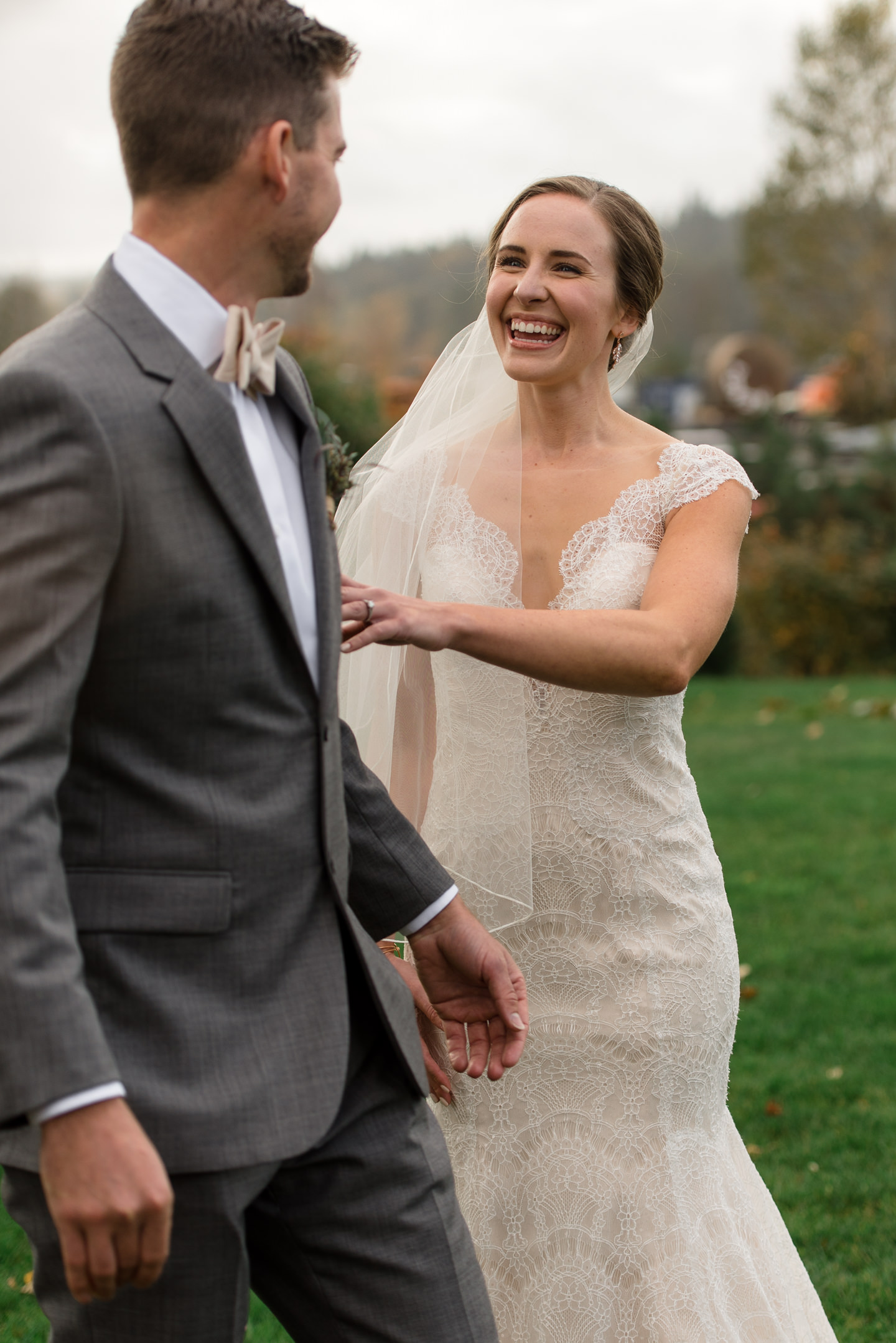 Bride and Groom Happy First Look at Dairyland