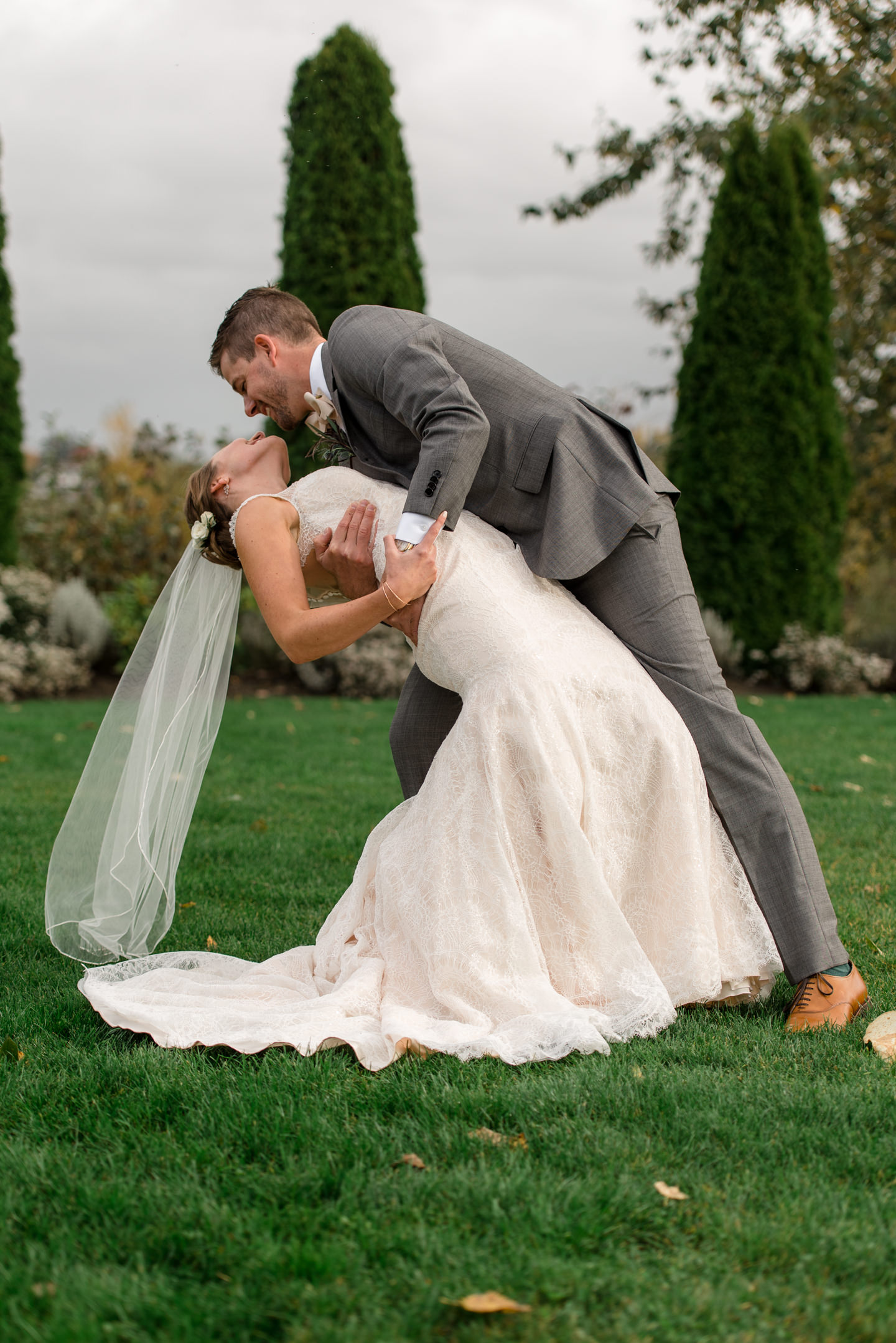 Bride and Groom Happy First Look Kiss at Dairyland