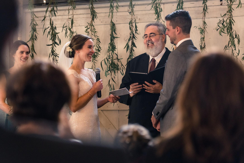 Bride Wedding Vows during Ceremony at Dairyland